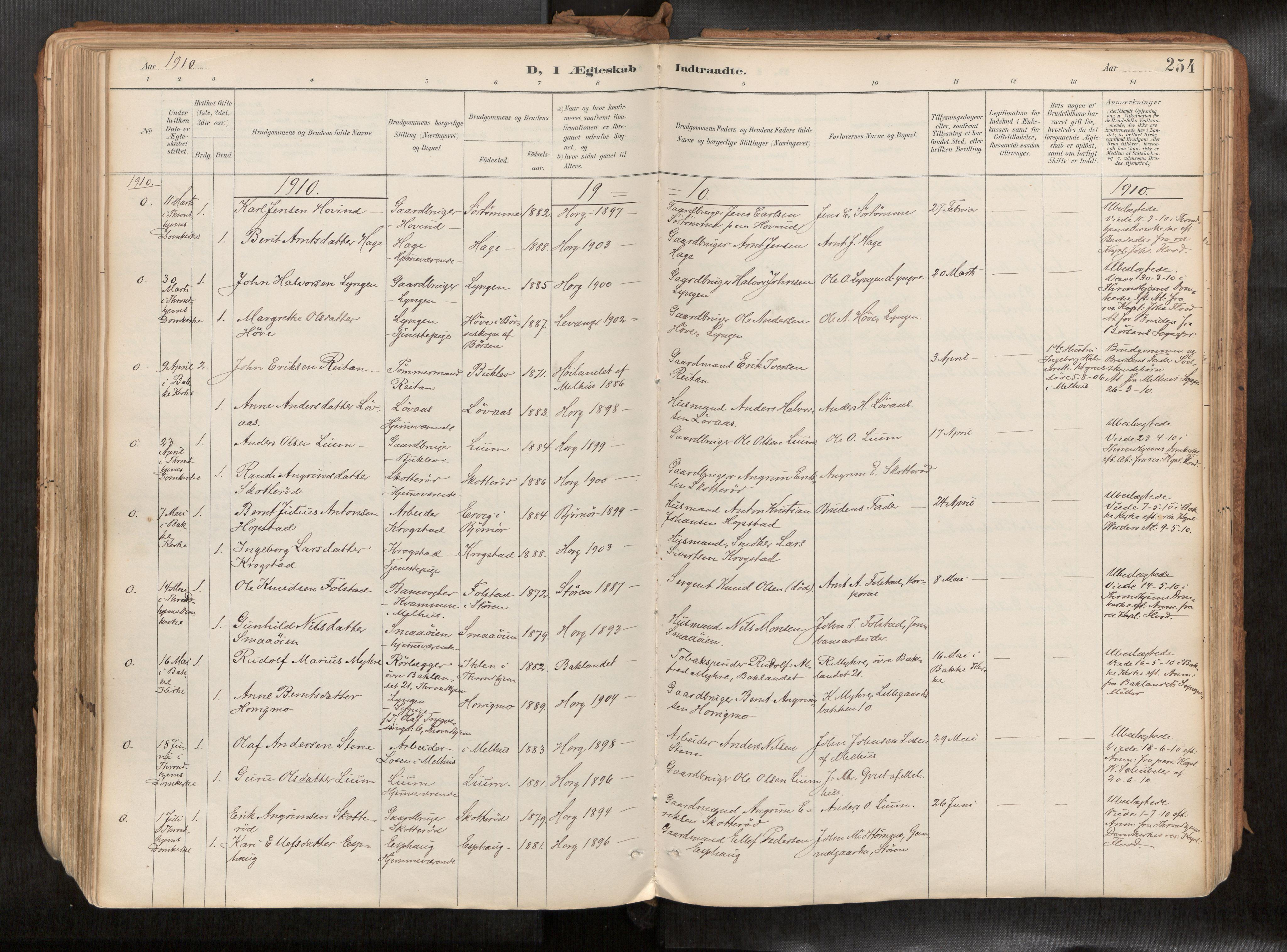 SAT, Ministerialprotokoller, klokkerbøker og fødselsregistre - Sør-Trøndelag, 692/L1105b: Ministerialbok nr. 692A06, 1891-1934, s. 254