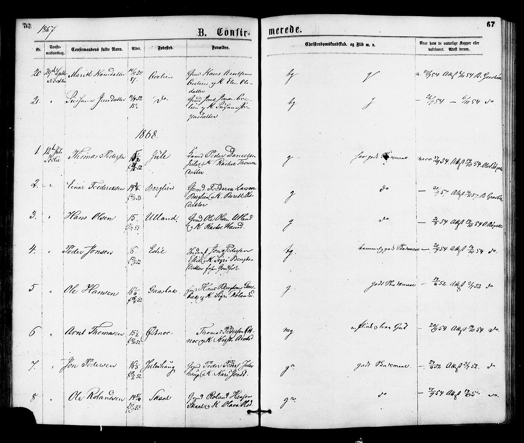 SAT, Ministerialprotokoller, klokkerbøker og fødselsregistre - Nord-Trøndelag, 755/L0493: Ministerialbok nr. 755A02, 1865-1881, s. 67