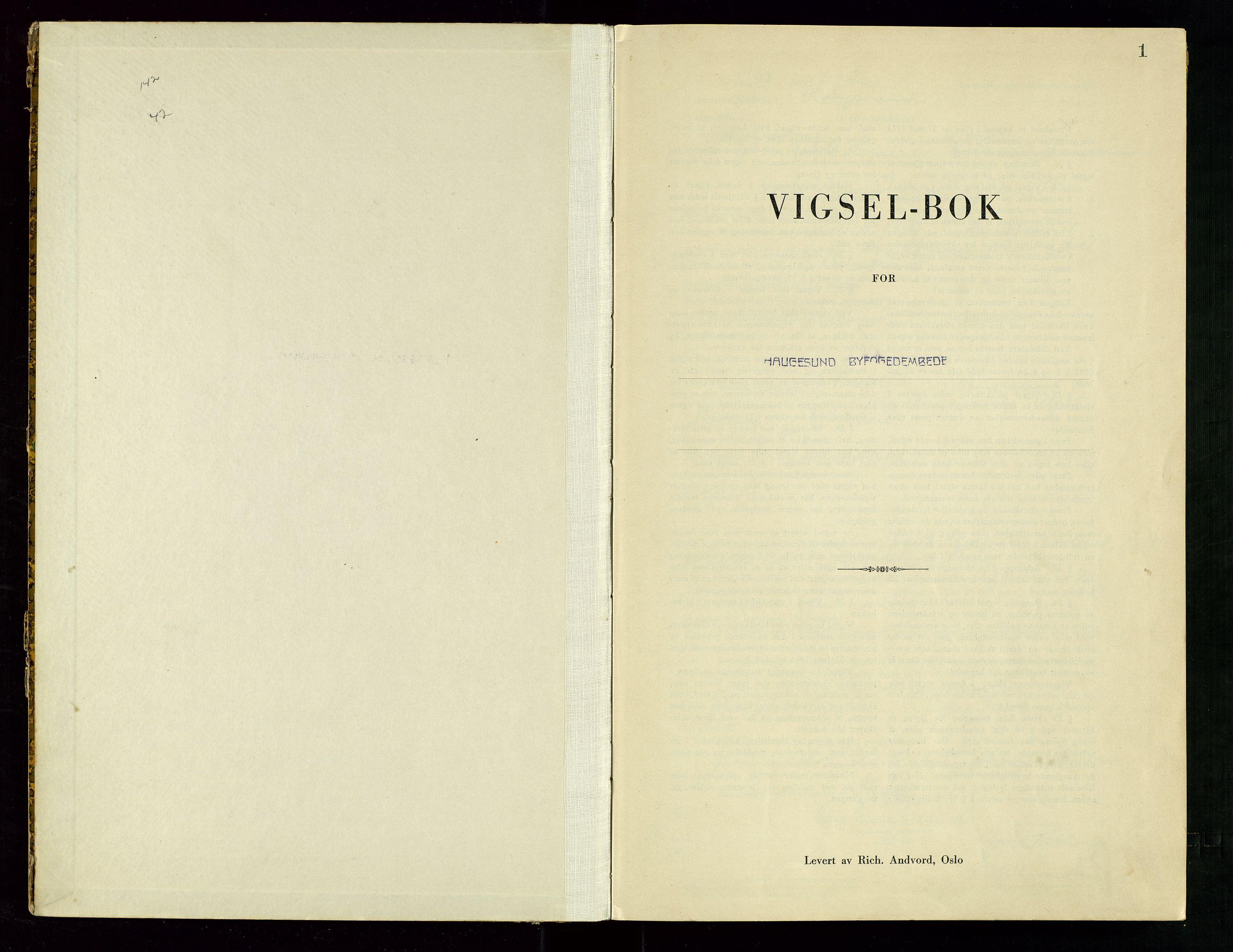 SAST, Haugesund tingrett, III/IIID/L0004: Vigselbok, 1943-1944, s. 1
