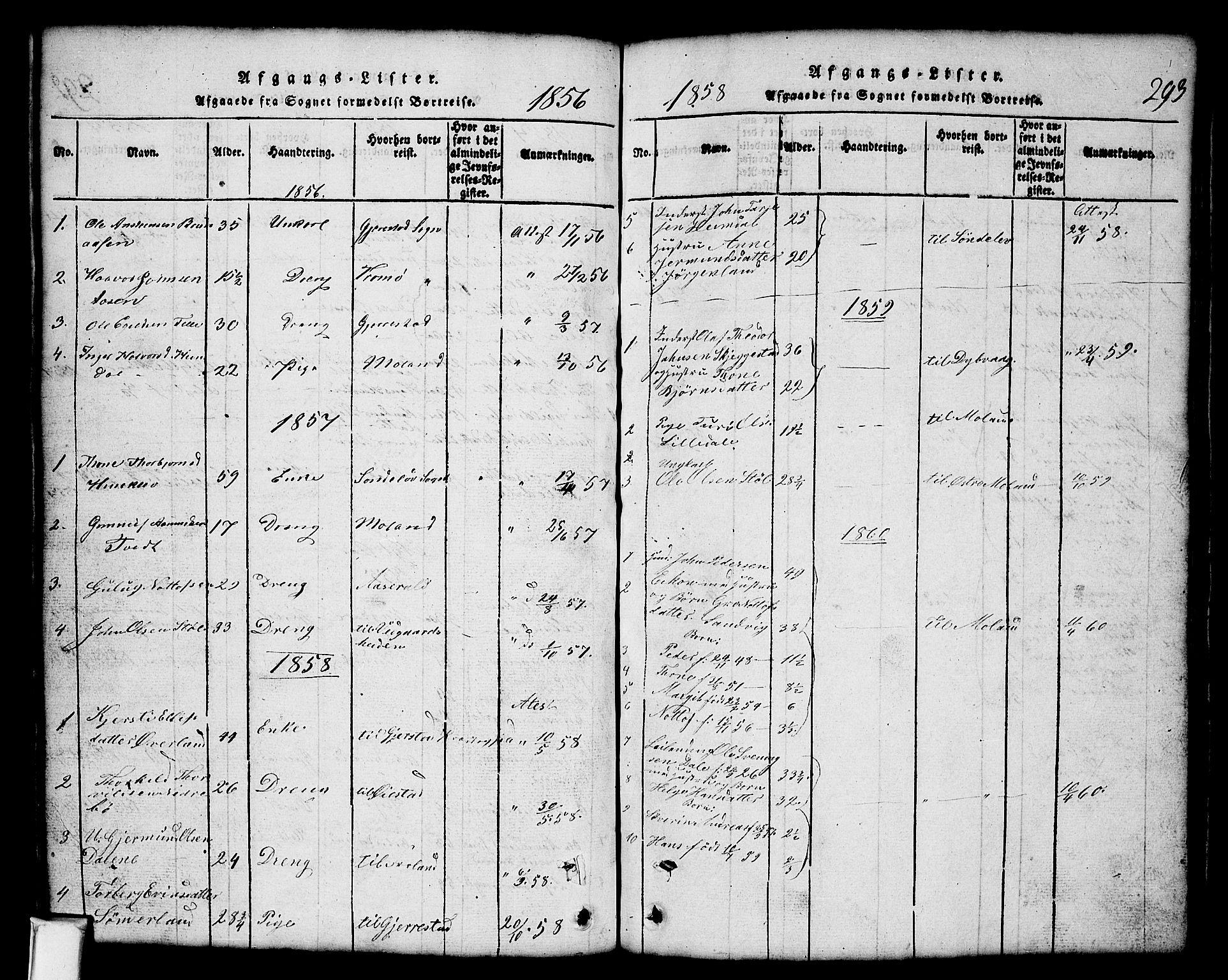 SAKO, Nissedal kirkebøker, G/Gb/L0001: Klokkerbok nr. II 1, 1814-1862, s. 293