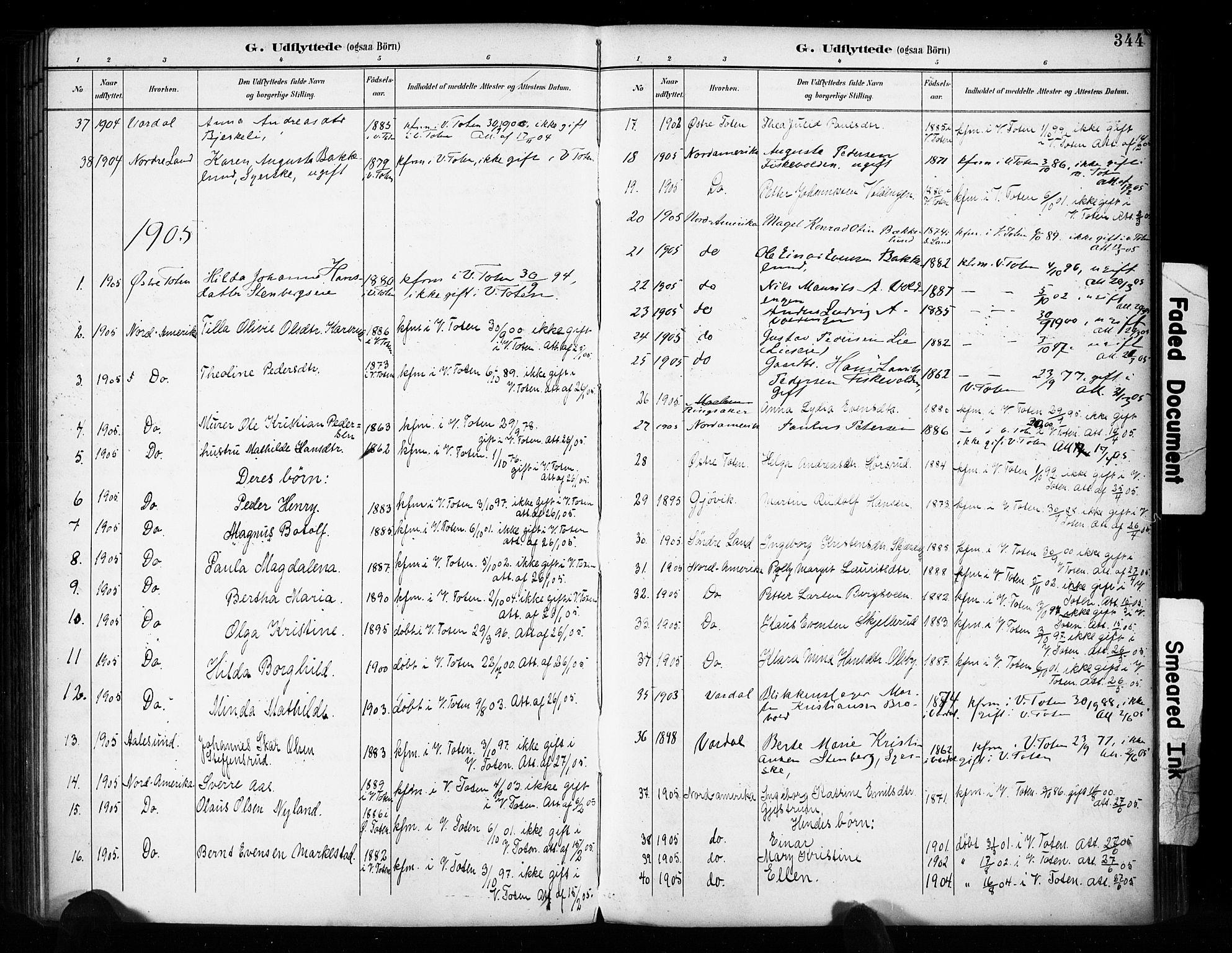 SAH, Vestre Toten prestekontor, H/Ha/Haa/L0011: Ministerialbok nr. 11, 1895-1906, s. 344