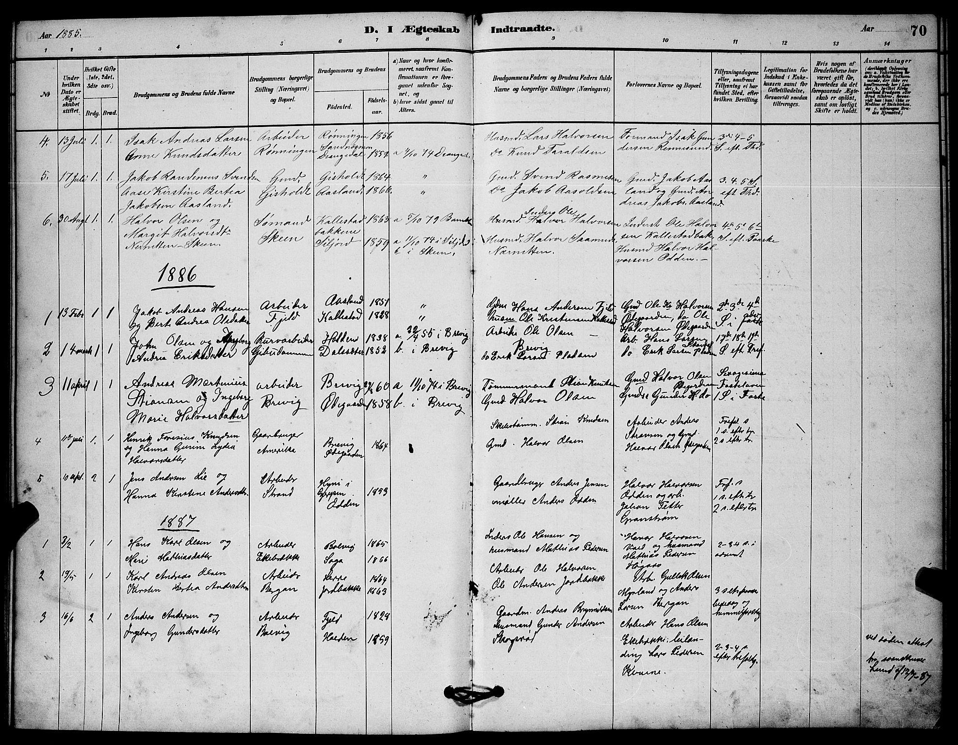 SAKO, Solum kirkebøker, G/Gc/L0001: Klokkerbok nr. III 1, 1880-1902, s. 70