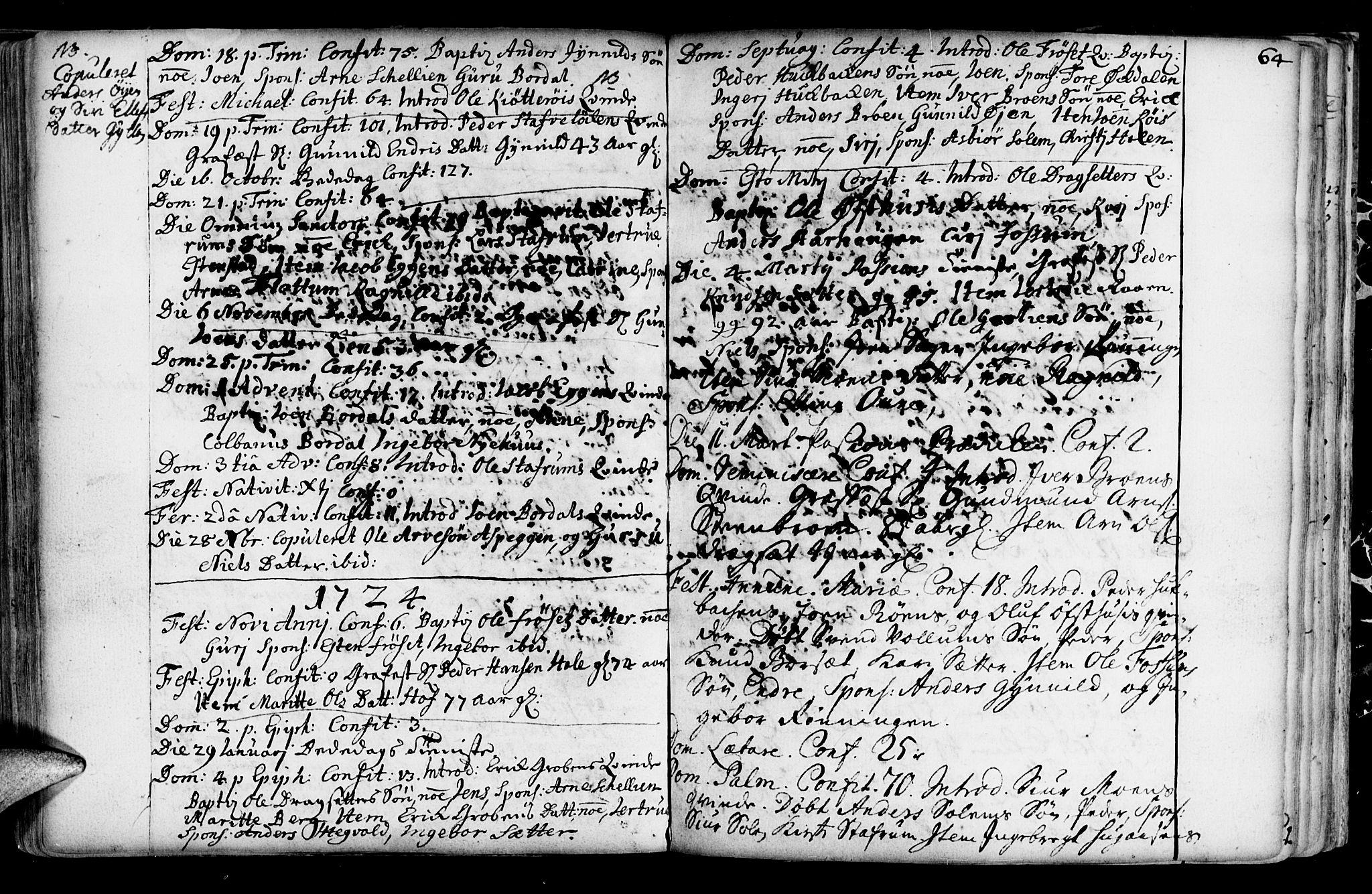 SAT, Ministerialprotokoller, klokkerbøker og fødselsregistre - Sør-Trøndelag, 689/L1036: Ministerialbok nr. 689A01, 1696-1746, s. 64