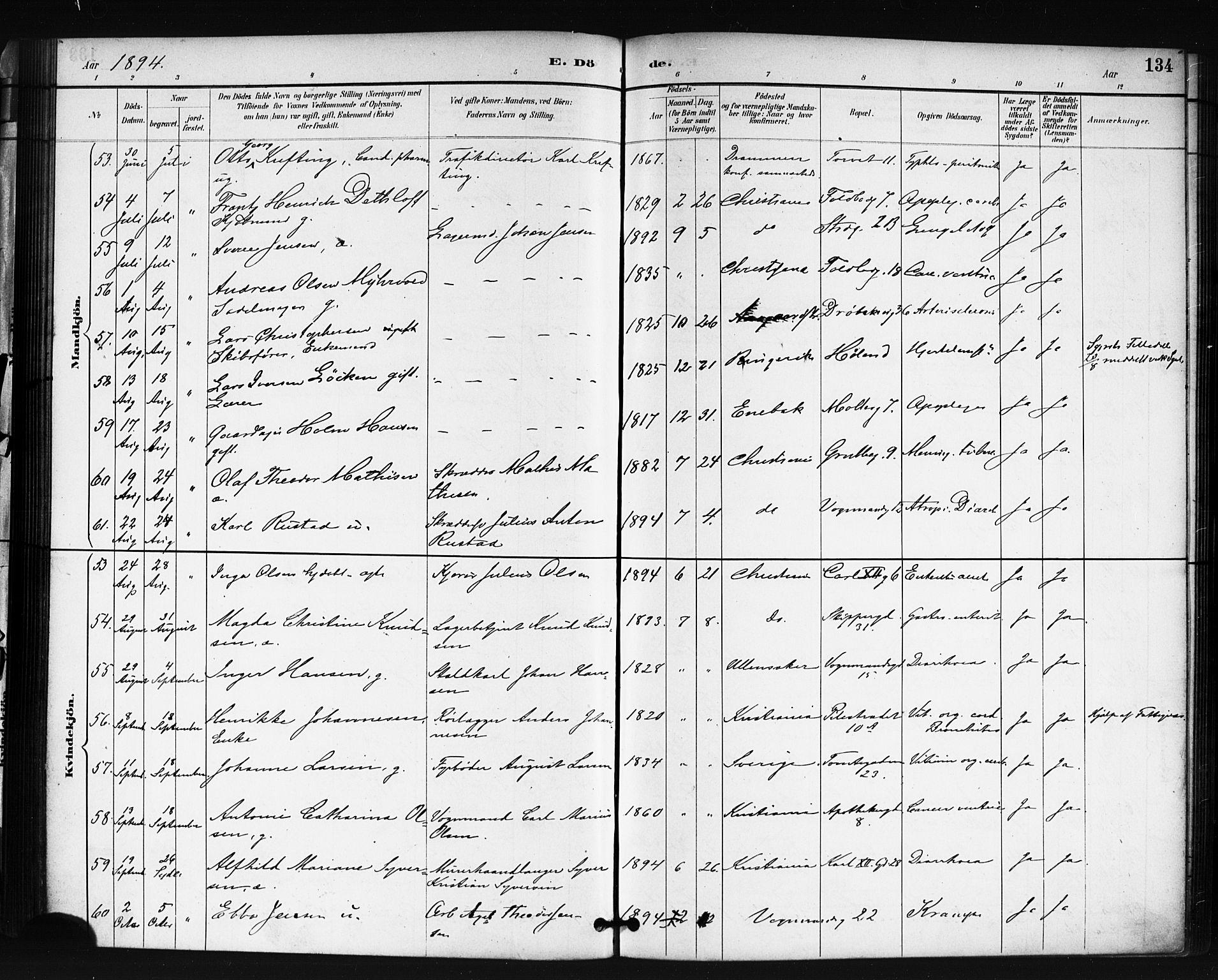 SAO, Oslo domkirke Kirkebøker, F/Fa/L0035: Ministerialbok nr. 35, 1885-1901, s. 134