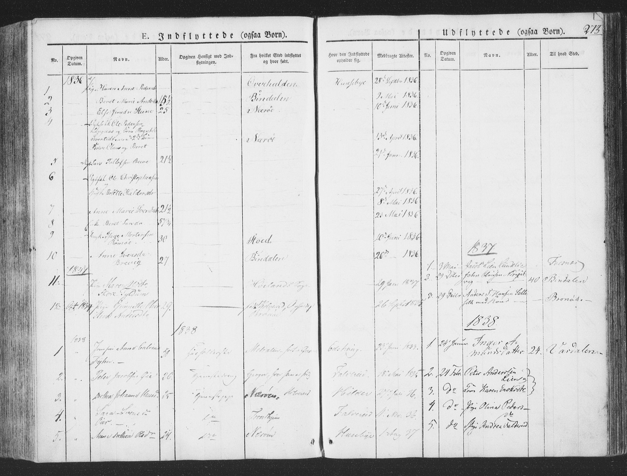 SAT, Ministerialprotokoller, klokkerbøker og fødselsregistre - Nord-Trøndelag, 780/L0639: Ministerialbok nr. 780A04, 1830-1844, s. 273