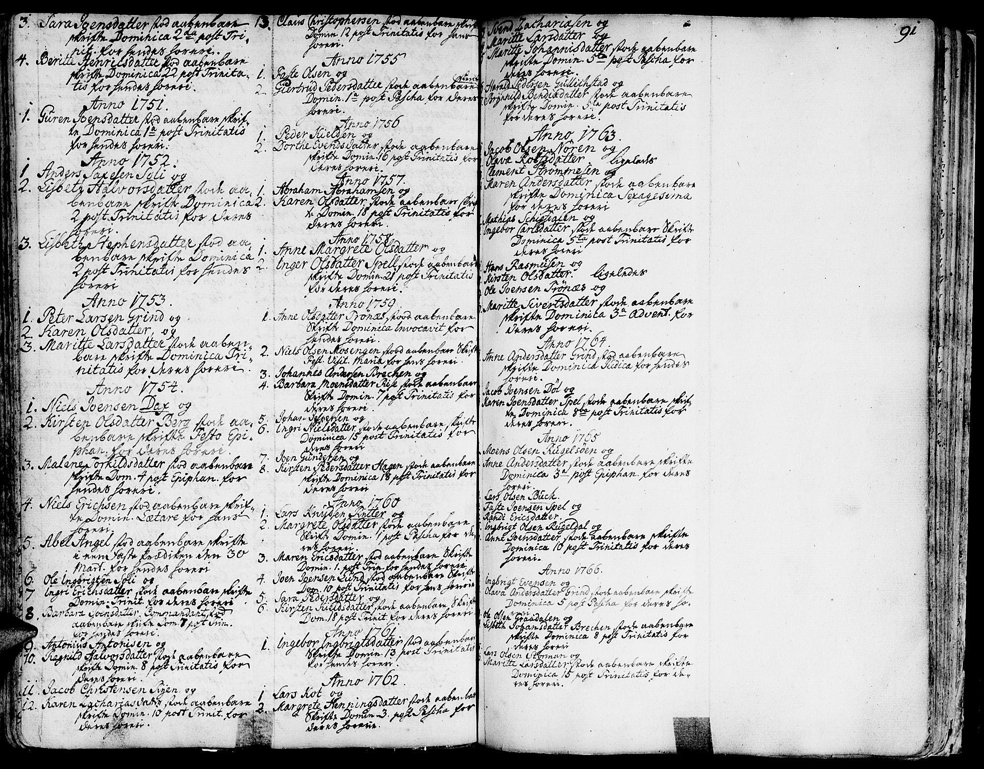 SAT, Ministerialprotokoller, klokkerbøker og fødselsregistre - Sør-Trøndelag, 681/L0925: Ministerialbok nr. 681A03, 1727-1766, s. 91