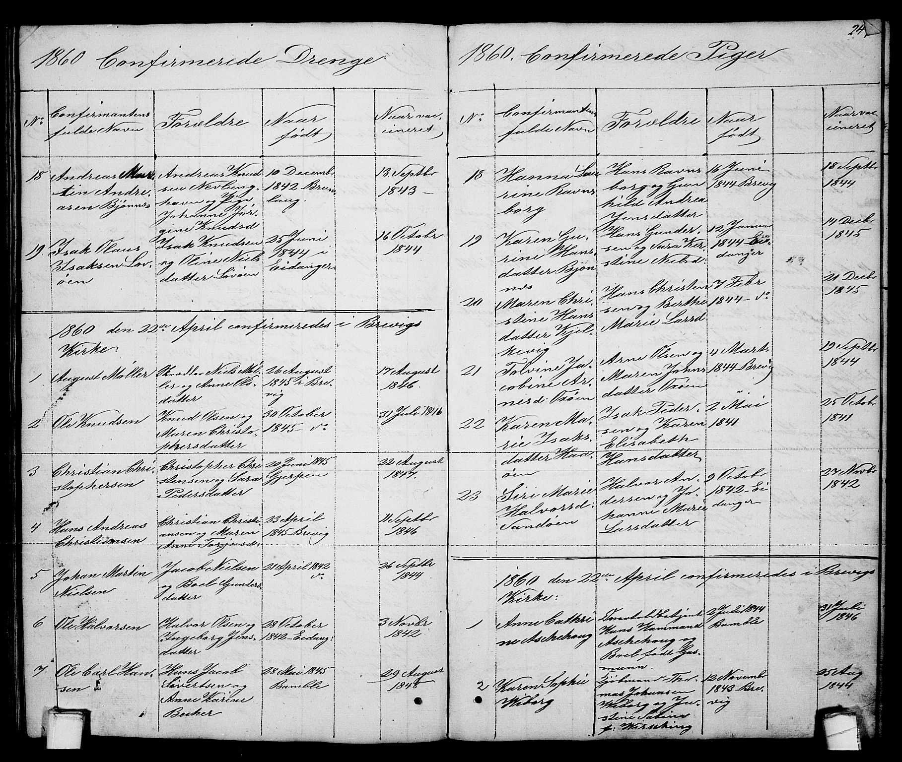 SAKO, Brevik kirkebøker, G/Ga/L0002: Klokkerbok nr. 2, 1846-1865, s. 249