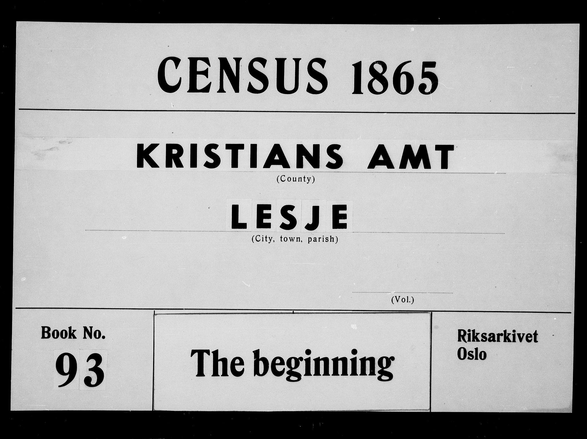 RA, Folketelling 1865 for 0512P Lesja prestegjeld, 1865, s. 1