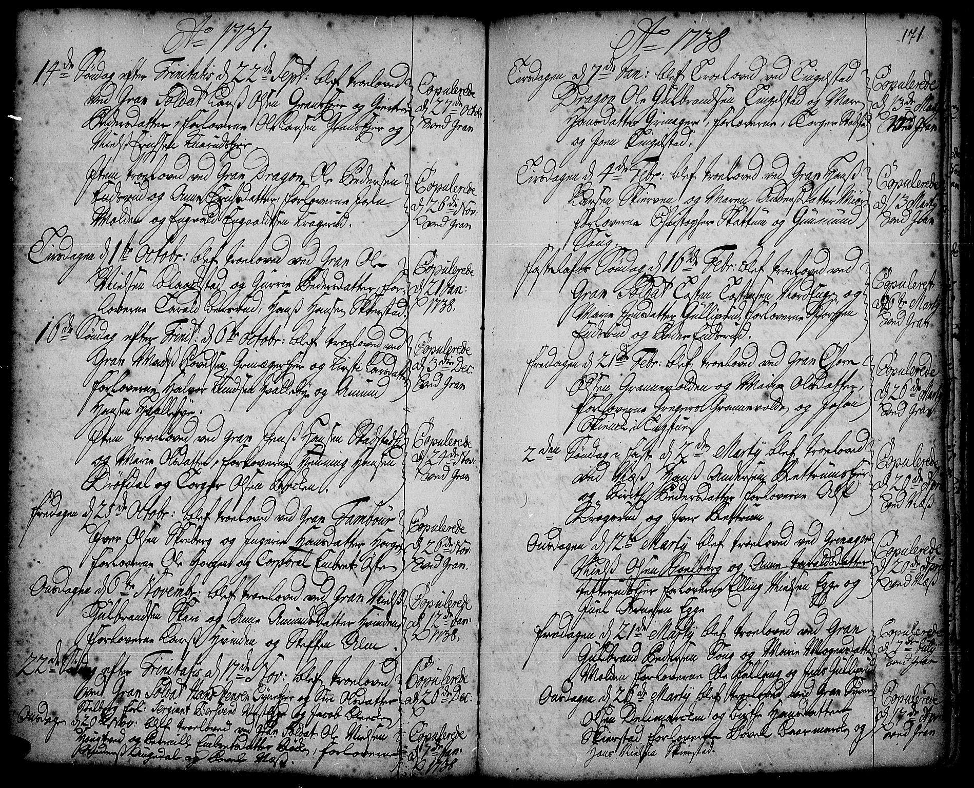 SAH, Gran prestekontor, Ministerialbok nr. 2, 1732-1744, s. 171