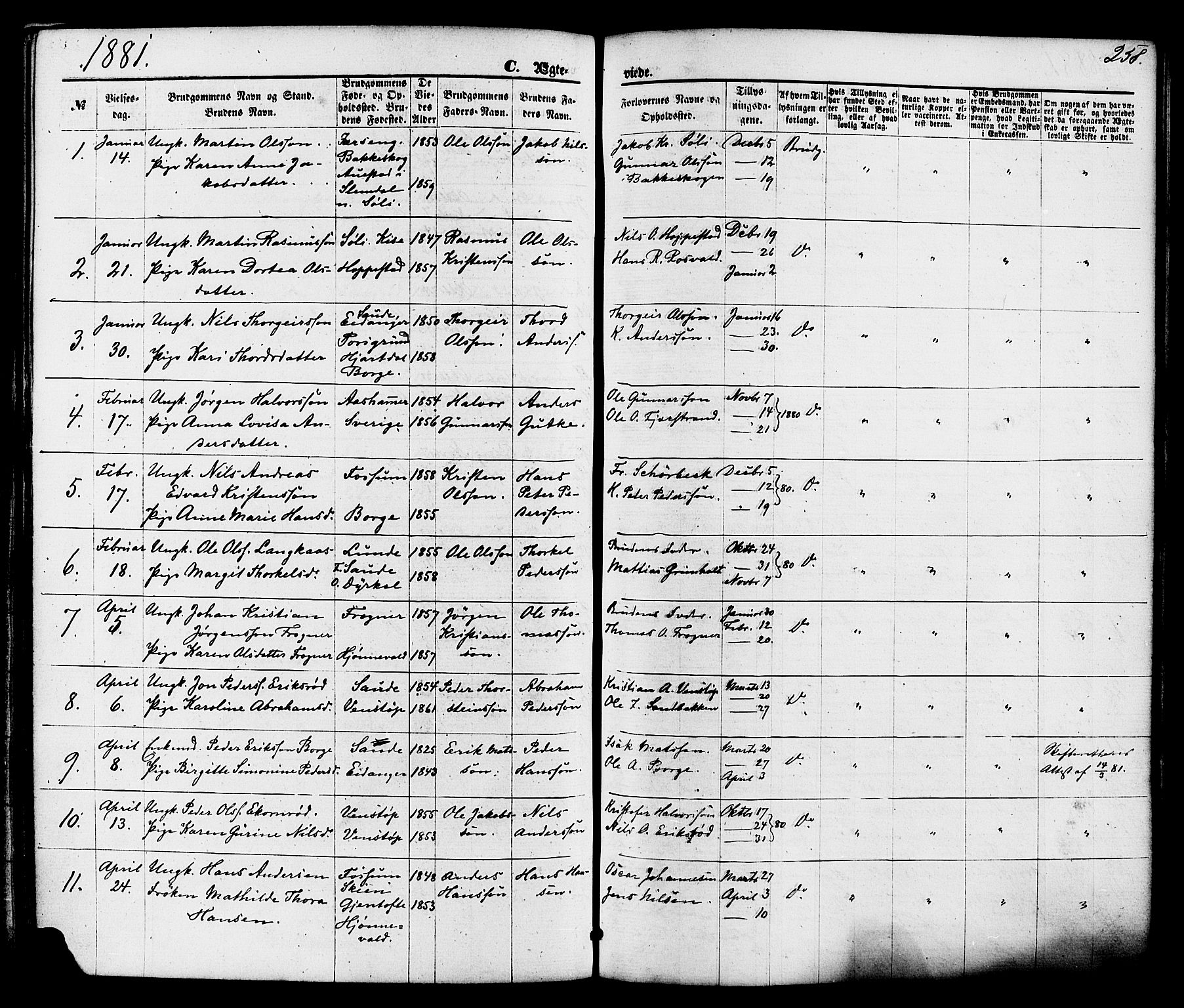 SAKO, Gjerpen kirkebøker, F/Fa/L0009: Ministerialbok nr. 9, 1872-1885, s. 258
