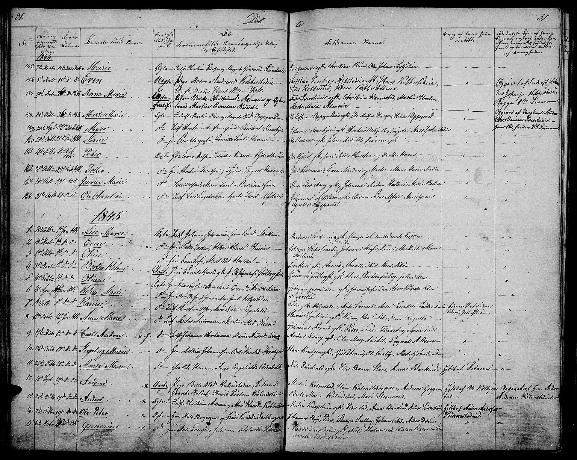 SAH, Østre Toten prestekontor, Klokkerbok nr. 2, 1840-1847, s. 31