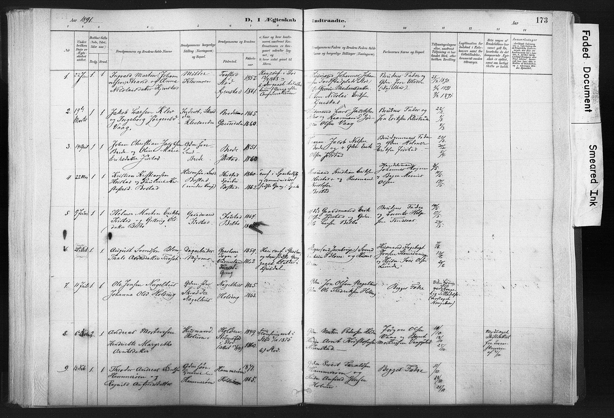 SAT, Ministerialprotokoller, klokkerbøker og fødselsregistre - Nord-Trøndelag, 749/L0474: Ministerialbok nr. 749A08, 1887-1903, s. 173
