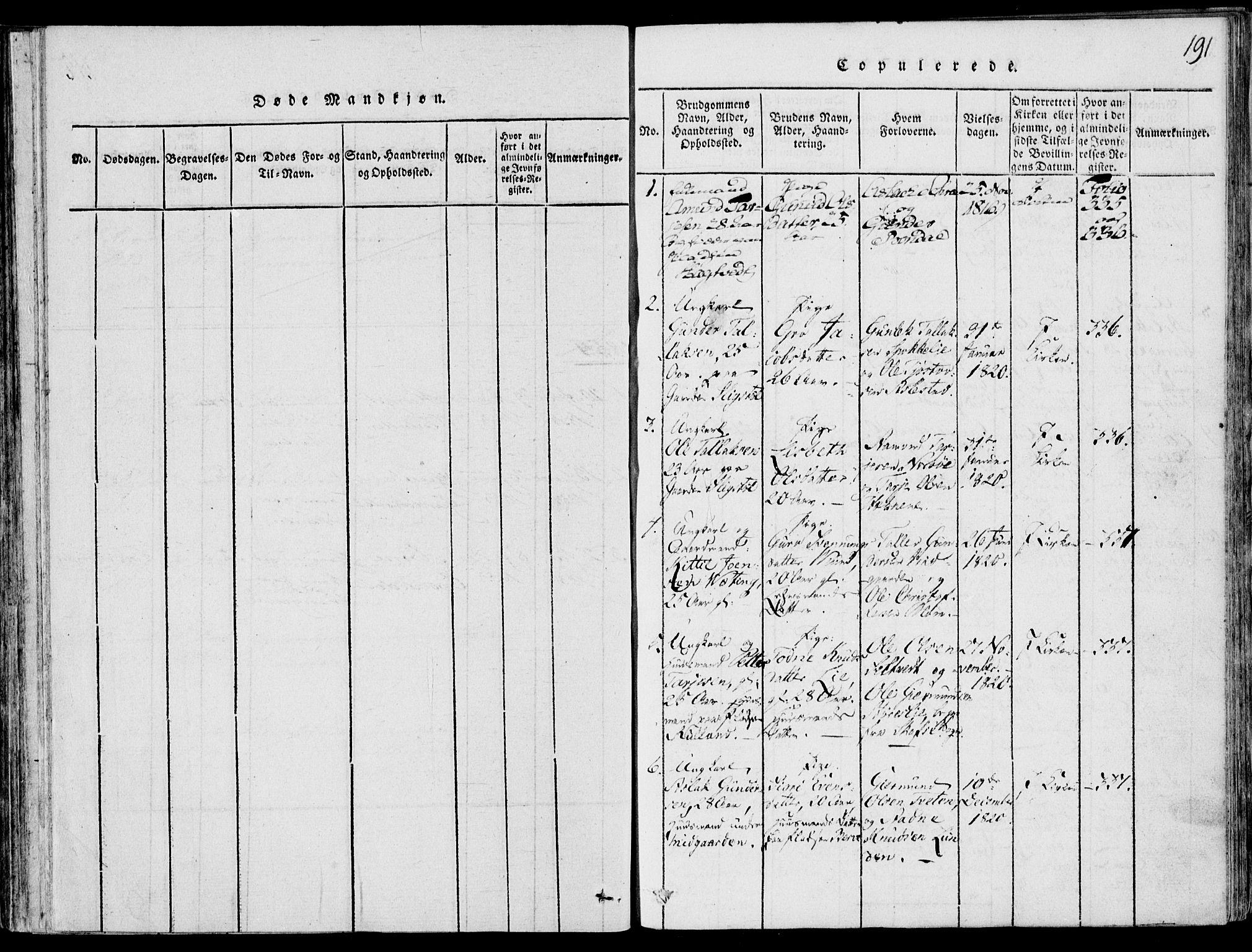 SAKO, Fyresdal kirkebøker, F/Fb/L0001: Ministerialbok nr. II 1, 1815-1854, s. 191
