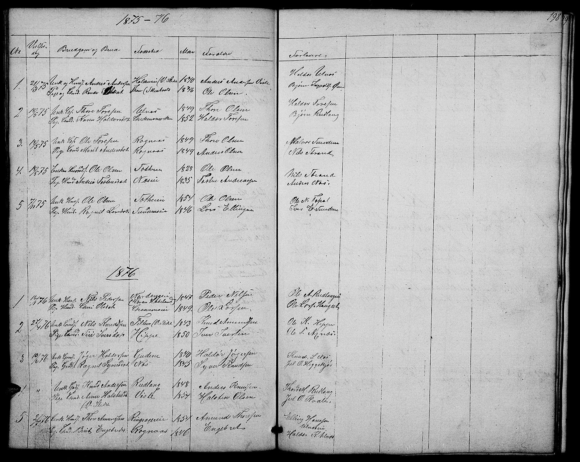 SAH, Nord-Aurdal prestekontor, Klokkerbok nr. 4, 1842-1882, s. 198