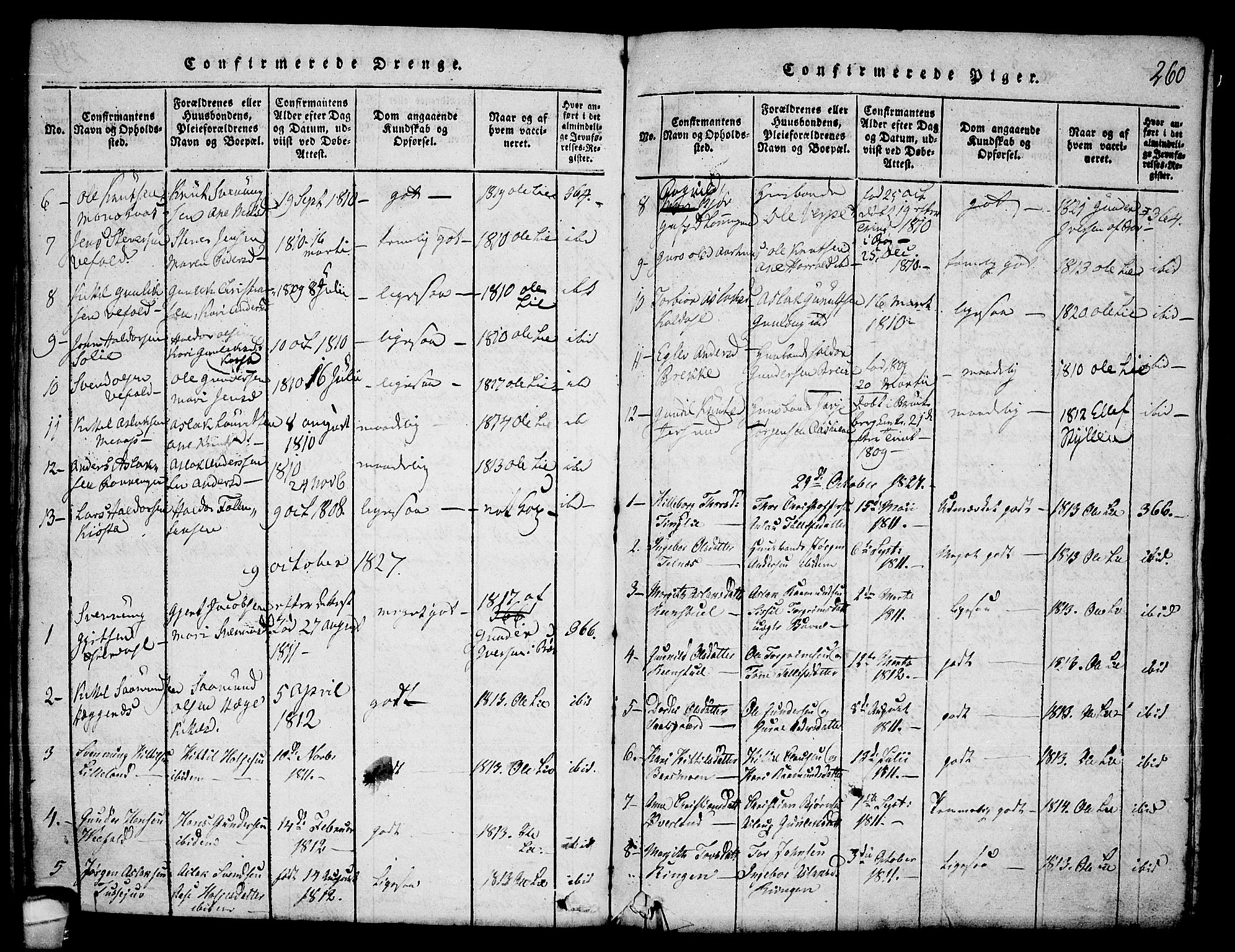 SAKO, Seljord kirkebøker, F/Fa/L0010: Ministerialbok nr. I 10, 1815-1831, s. 260