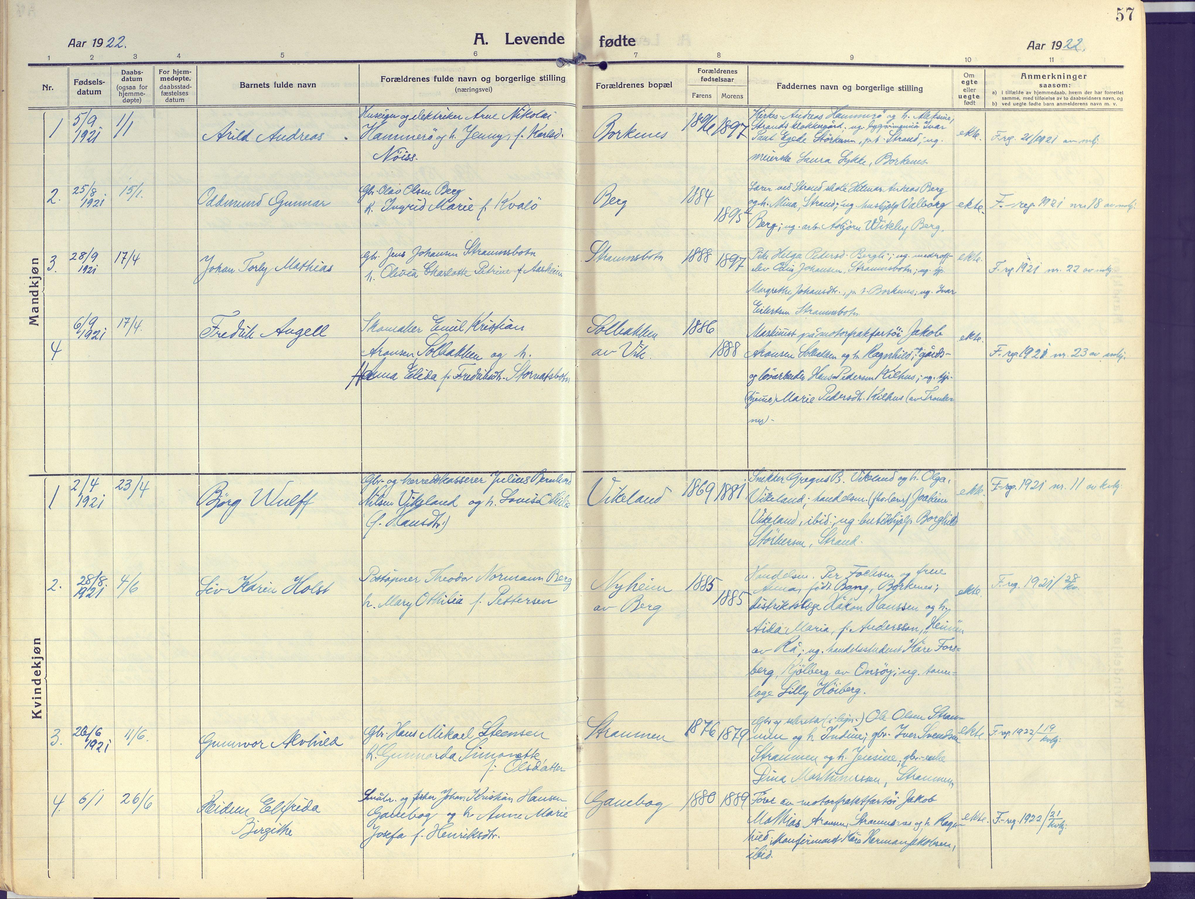 SATØ, Kvæfjord sokneprestkontor, G/Ga/Gaa/L0007kirke: Ministerialbok nr. 7, 1915-1931, s. 57