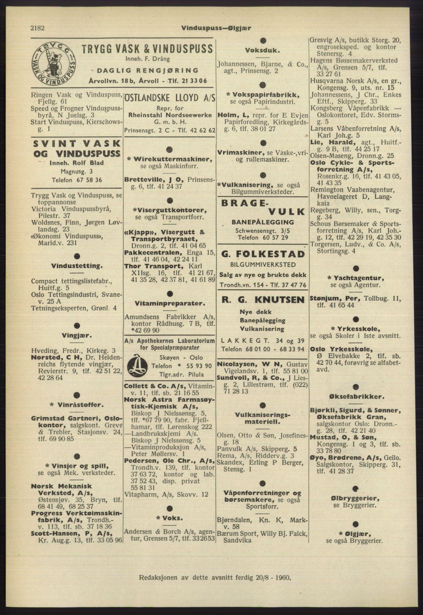 RA, Oslo adressebok (publikasjon)*, 1960-1961, s. 2182