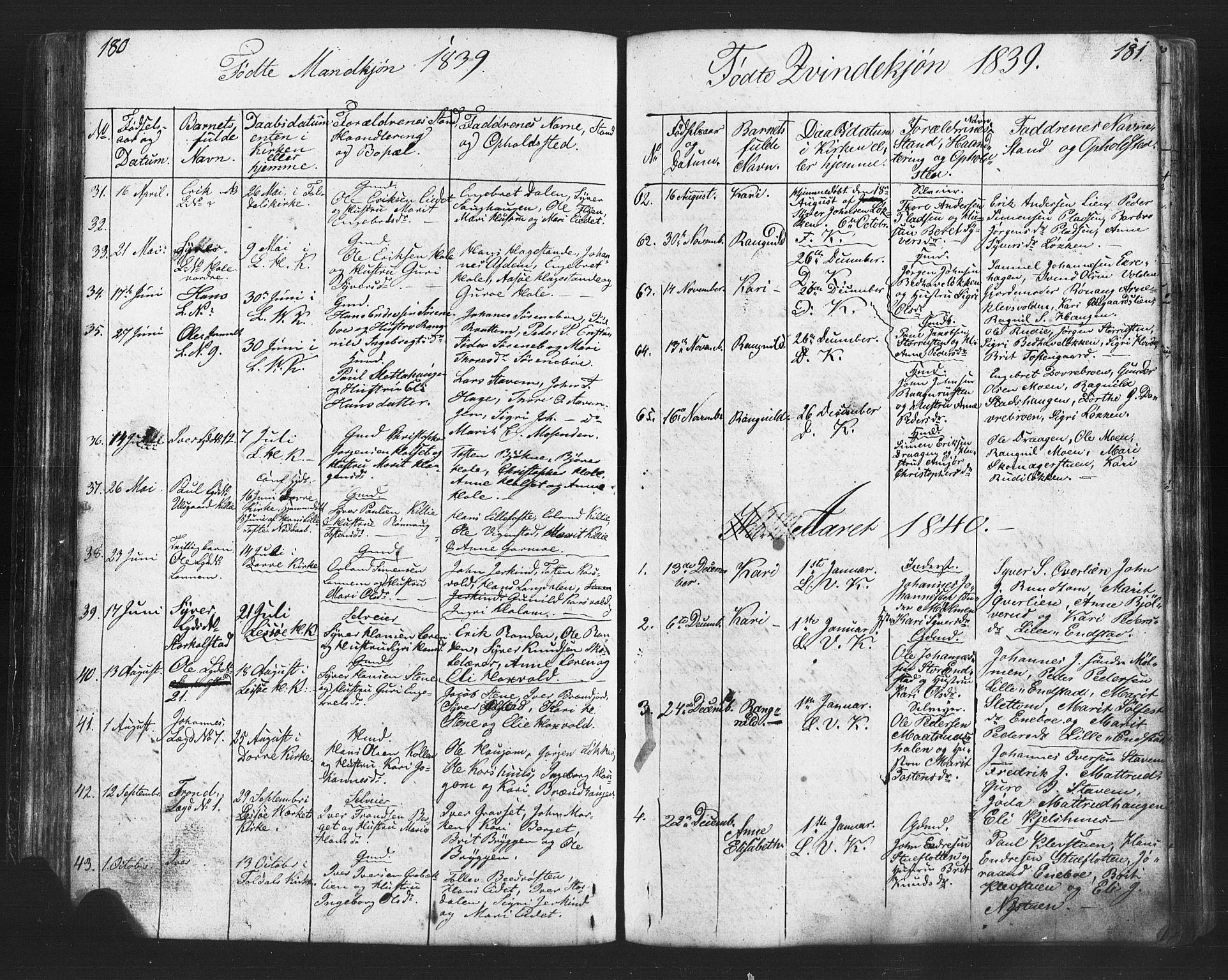 SAH, Lesja prestekontor, Klokkerbok nr. 2, 1832-1850, s. 180-181