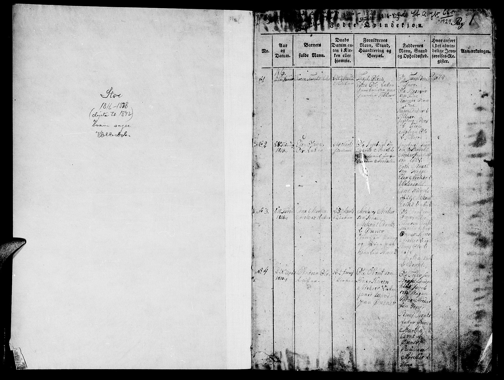 SAT, Ministerialprotokoller, klokkerbøker og fødselsregistre - Nord-Trøndelag, 747/L0459: Klokkerbok nr. 747C01, 1816-1842, s. 0-1