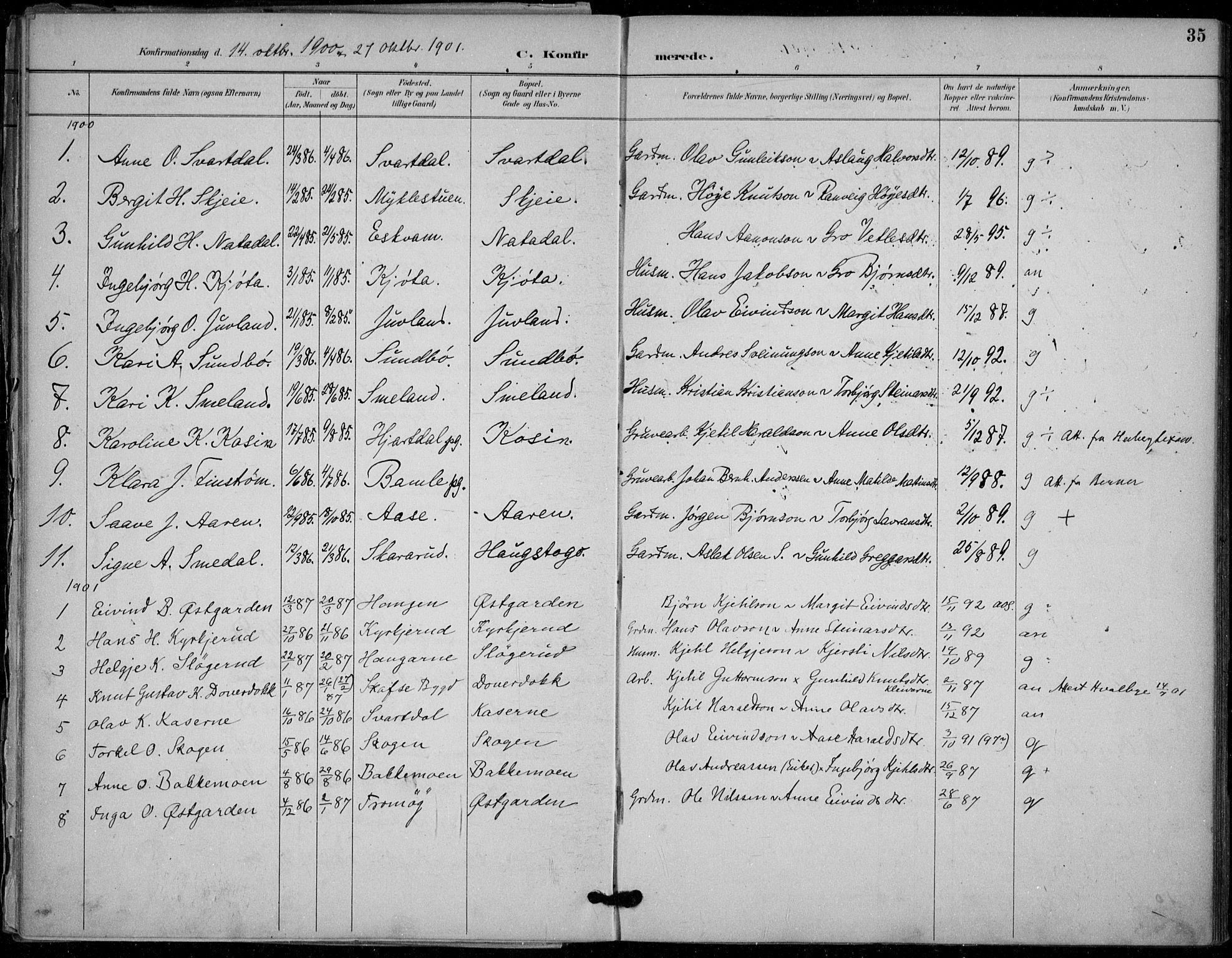 SAKO, Seljord kirkebøker, F/Fb/L0002: Ministerialbok nr. II 2, 1887-1917, s. 35