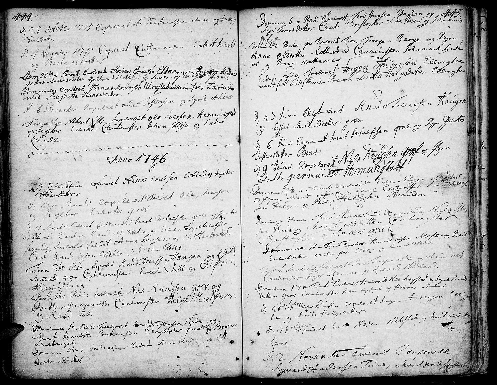SAH, Vang prestekontor, Valdres, Ministerialbok nr. 1, 1730-1796, s. 444-445
