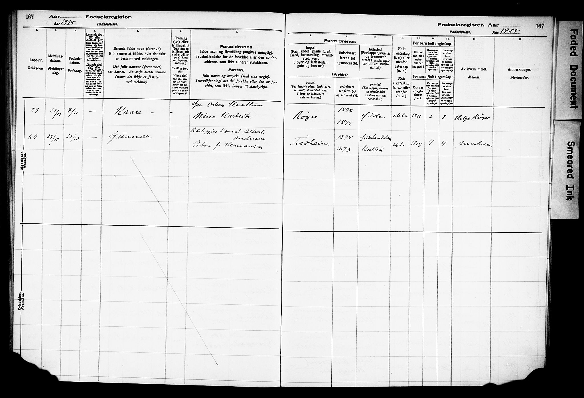 SAH, Østre Toten prestekontor, Fødselsregister nr. 15, 1916-1928, s. 167