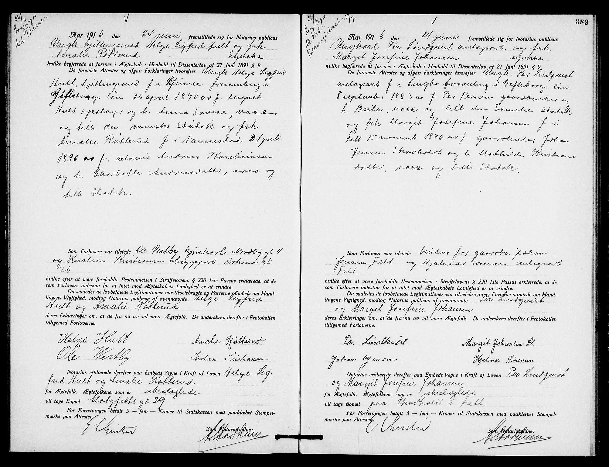 SAO, Oslo byfogd avd. I, L/Lb/Lbb/L0010: Notarialprotokoll, rekke II: Vigsler, 1914-1916, s. 482b-483a