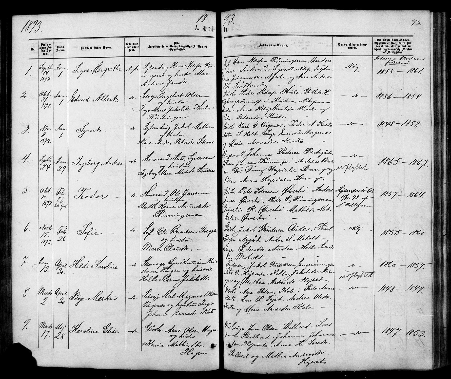 SAKO, Siljan kirkebøker, G/Ga/L0002: Klokkerbok nr. 2, 1864-1908, s. 72