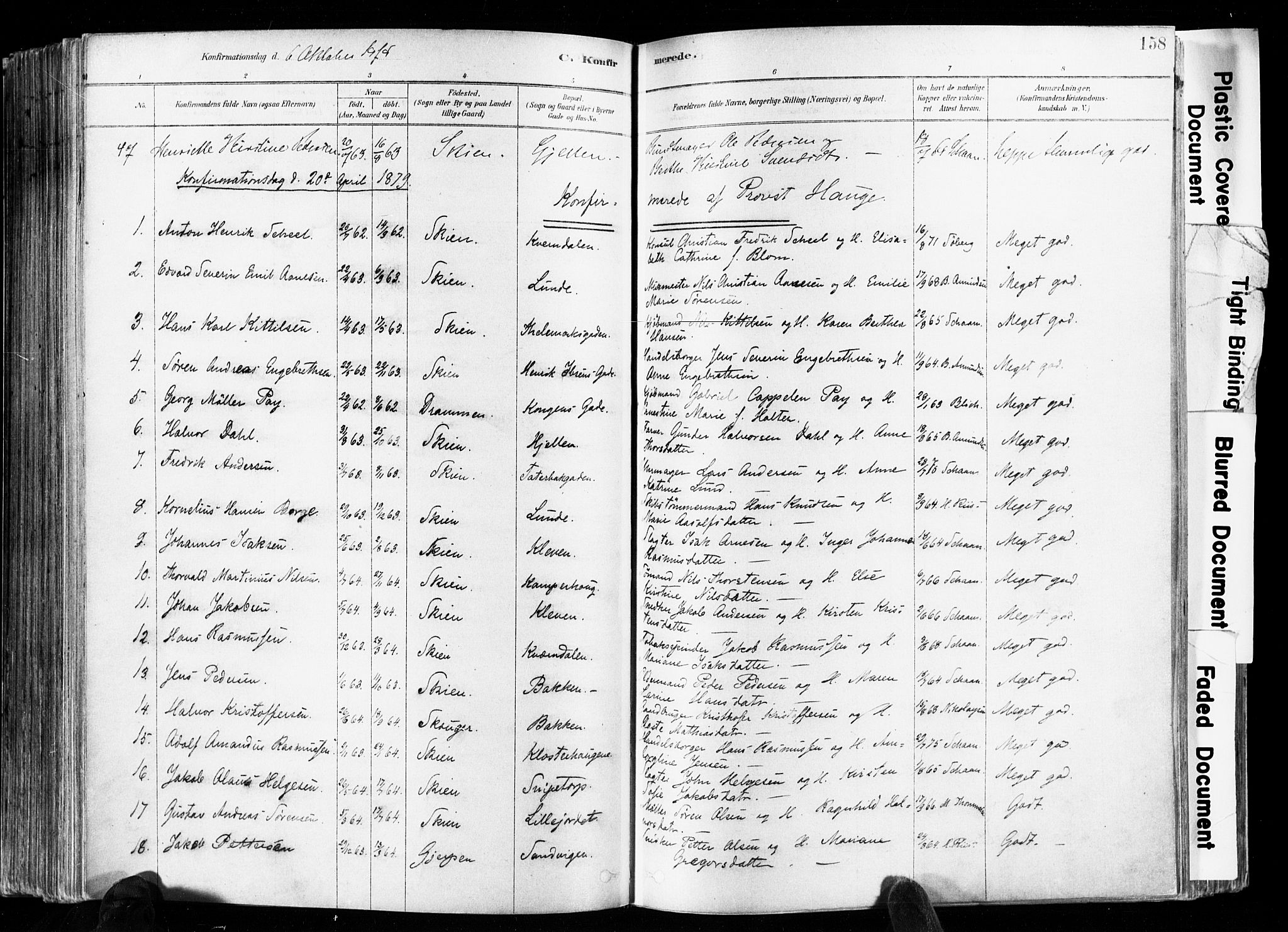 SAKO, Skien kirkebøker, F/Fa/L0009: Ministerialbok nr. 9, 1878-1890, s. 158