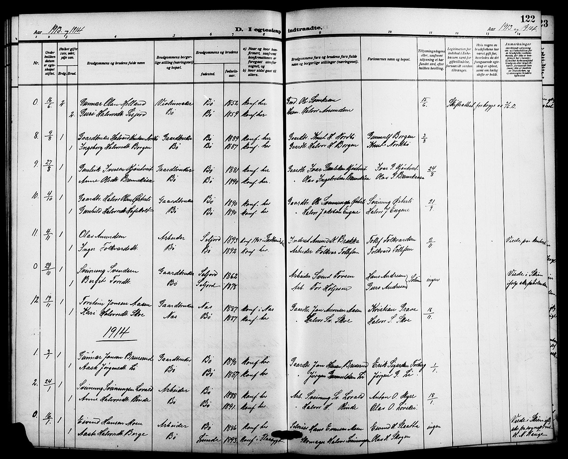 SAKO, Bø kirkebøker, G/Ga/L0007: Klokkerbok nr. 7, 1909-1924, s. 122