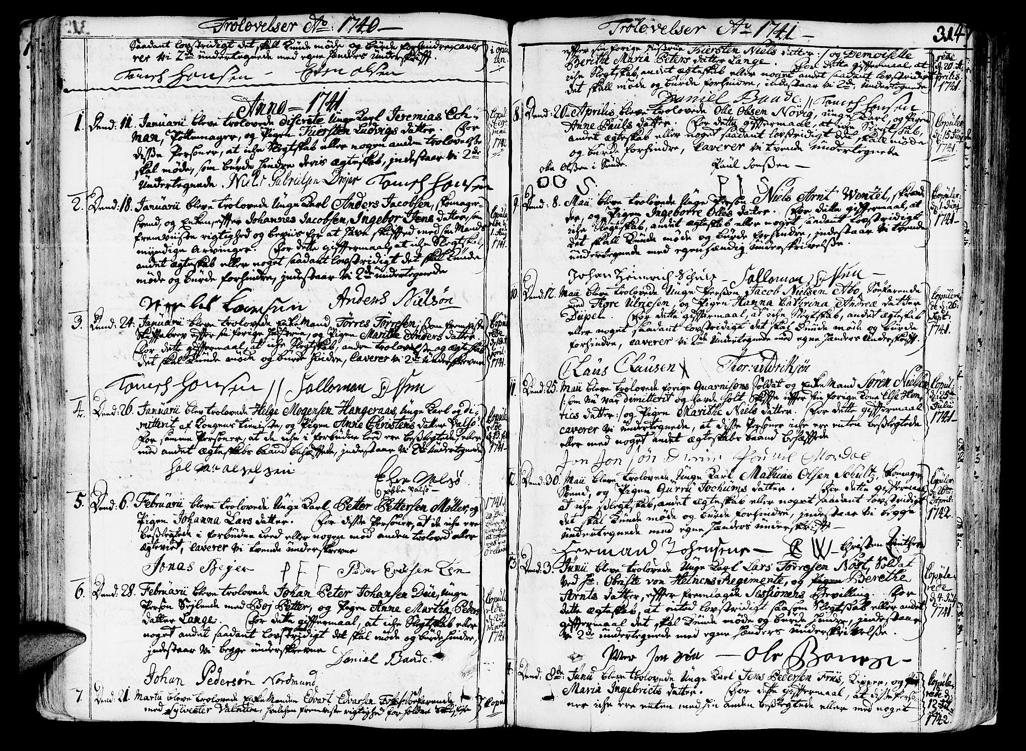 SAT, Ministerialprotokoller, klokkerbøker og fødselsregistre - Sør-Trøndelag, 602/L0103: Ministerialbok nr. 602A01, 1732-1774, s. 314