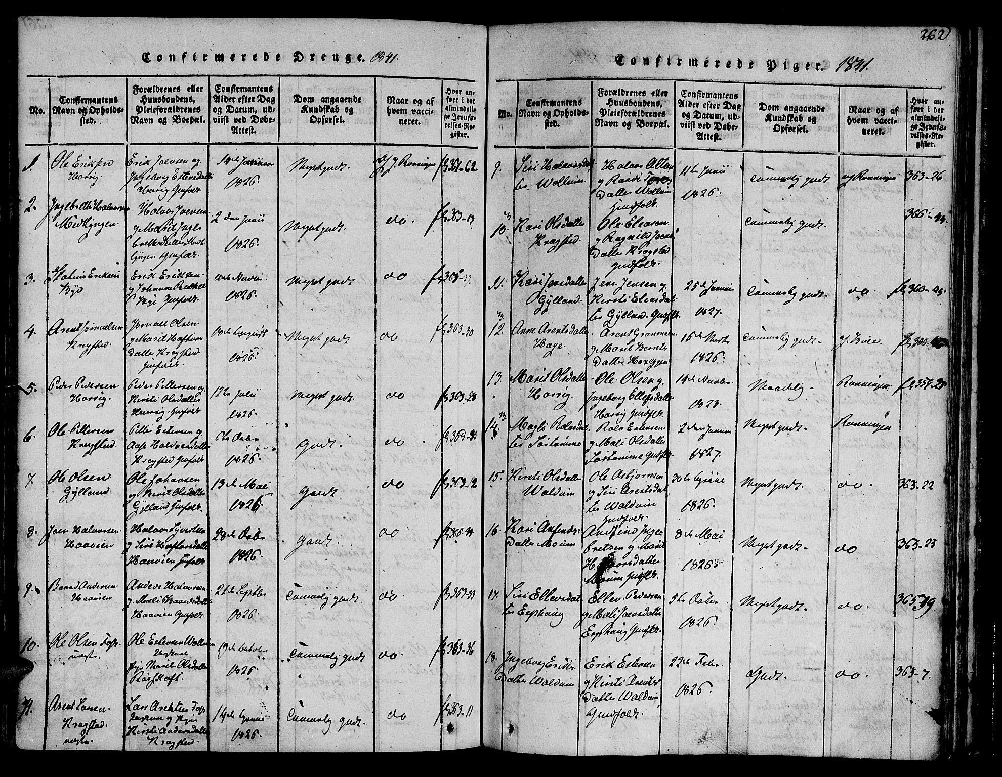 SAT, Ministerialprotokoller, klokkerbøker og fødselsregistre - Sør-Trøndelag, 692/L1102: Ministerialbok nr. 692A02, 1816-1842, s. 262