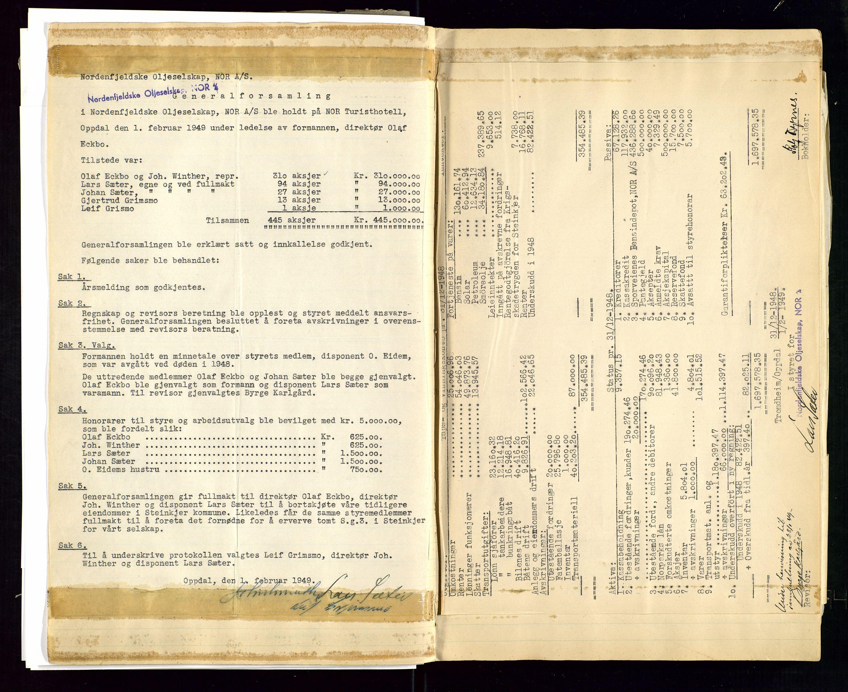 SAST, PA 1519 - Nordenfjeldske Oljeselskap, NOR A/S, A/L0001: Styreprotokoll, 1937-1962, s. 78