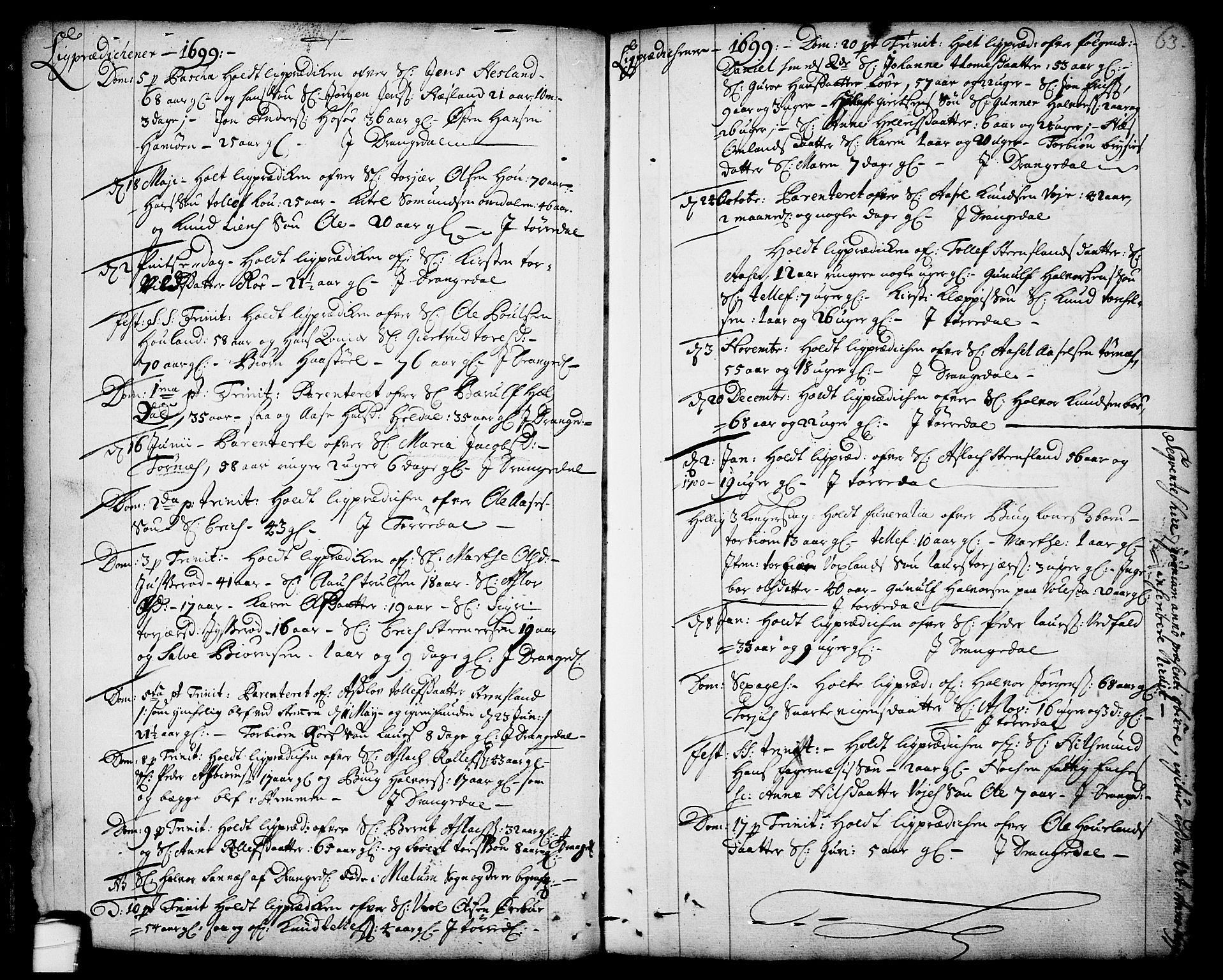 SAKO, Drangedal kirkebøker, F/Fa/L0001: Ministerialbok nr. 1, 1697-1767, s. 63