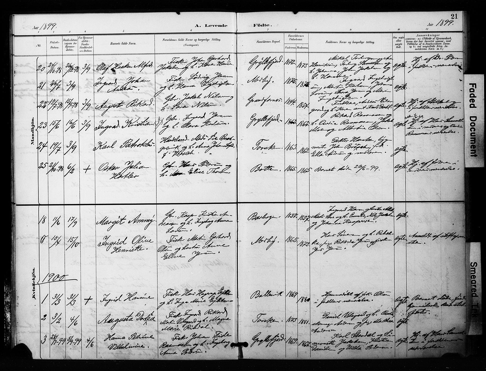 SATØ, Mefjord/Berg sokneprestkontor, G/Ga/Gaa/L0006kirke: Ministerialbok nr. 6, 1894-1904, s. 21