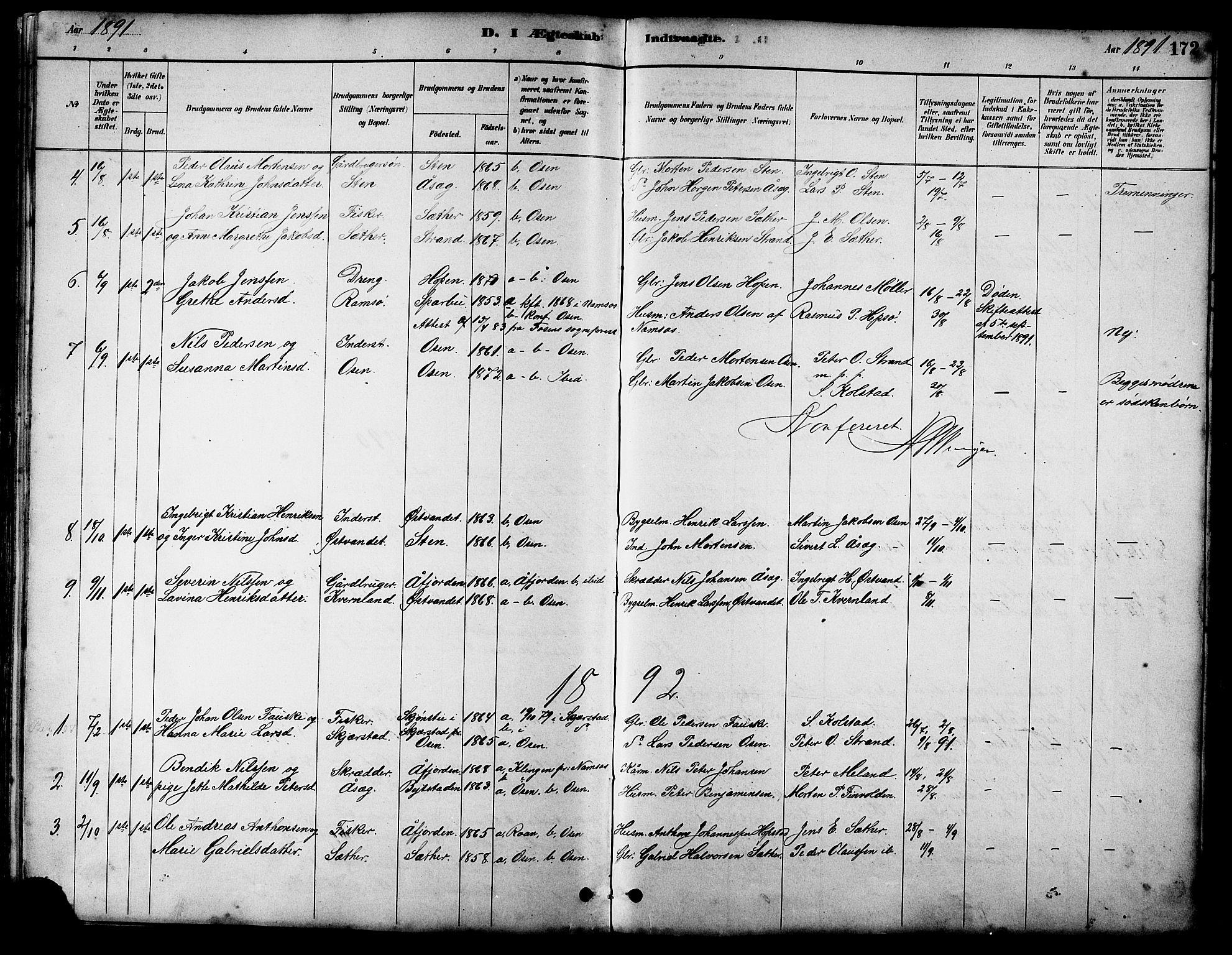 SAT, Ministerialprotokoller, klokkerbøker og fødselsregistre - Sør-Trøndelag, 658/L0726: Klokkerbok nr. 658C02, 1883-1908, s. 172