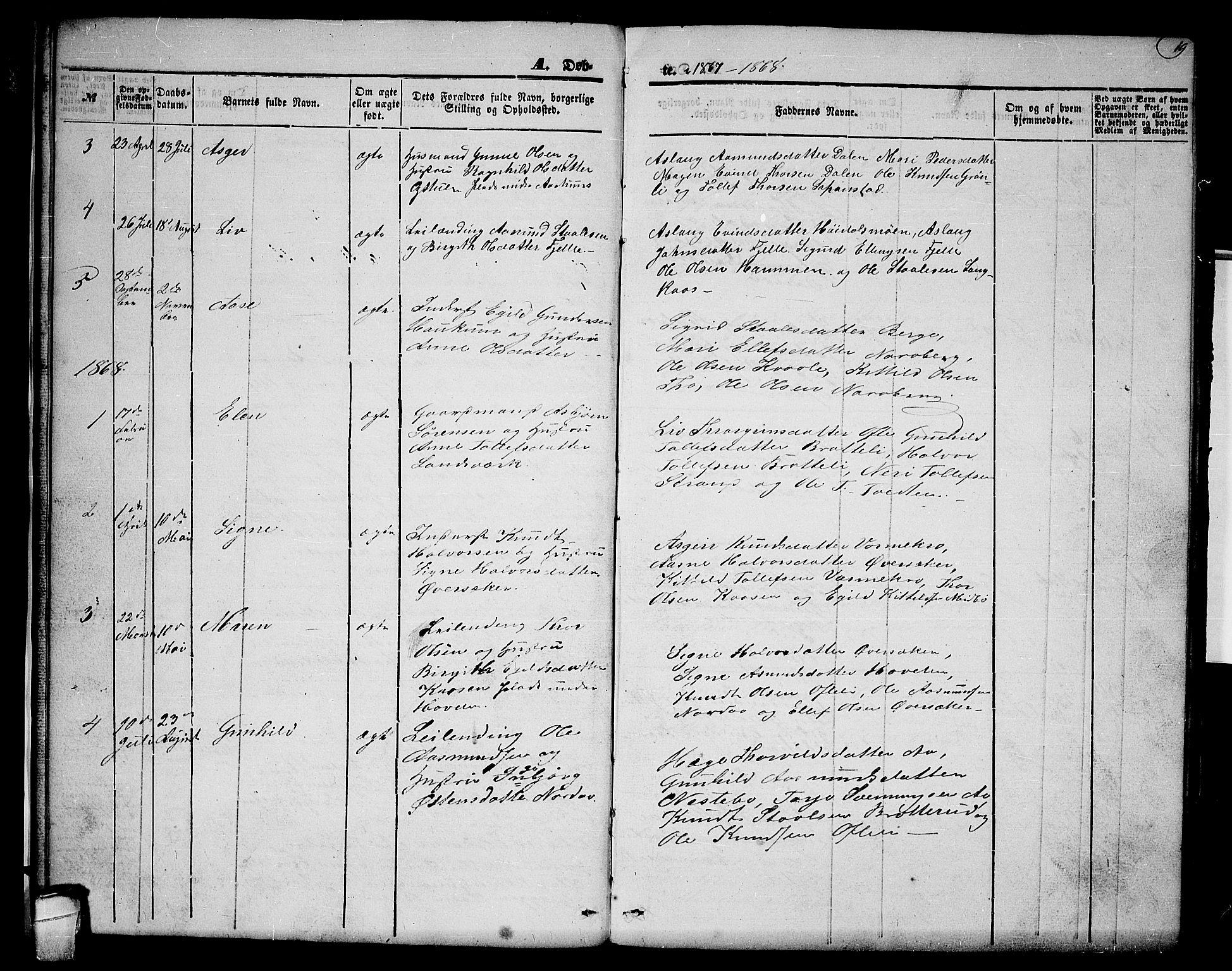 SAKO, Lårdal kirkebøker, G/Gc/L0002: Klokkerbok nr. III 2, 1852-1877, s. 19