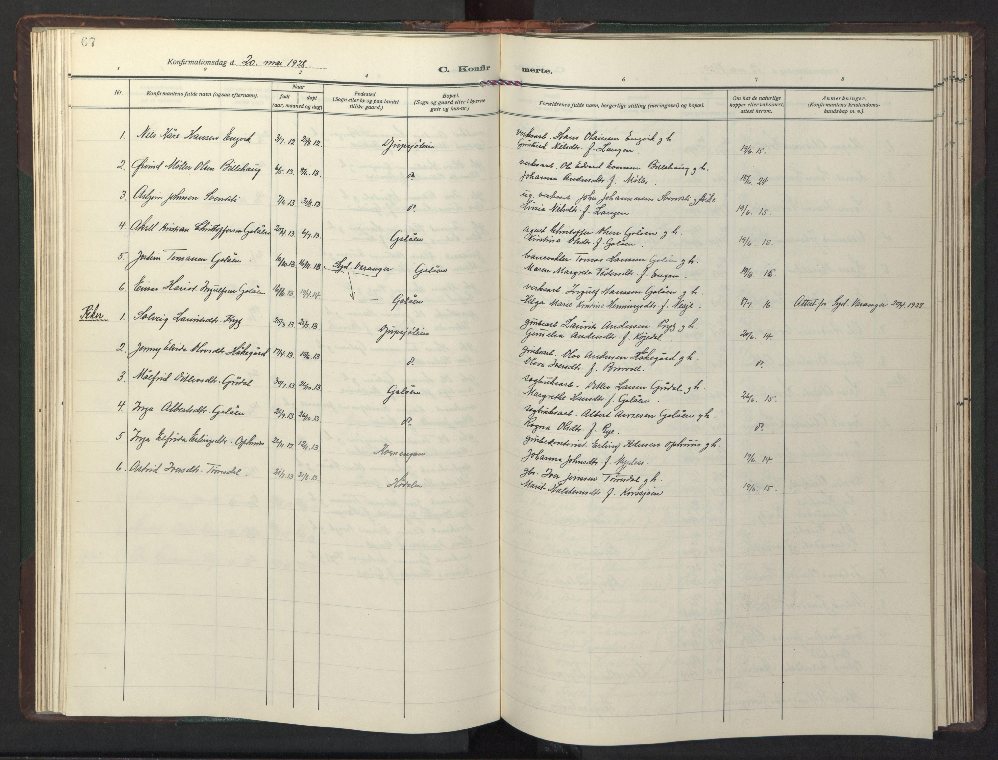 SAT, Ministerialprotokoller, klokkerbøker og fødselsregistre - Sør-Trøndelag, 681/L0944: Klokkerbok nr. 681C08, 1926-1954, s. 67