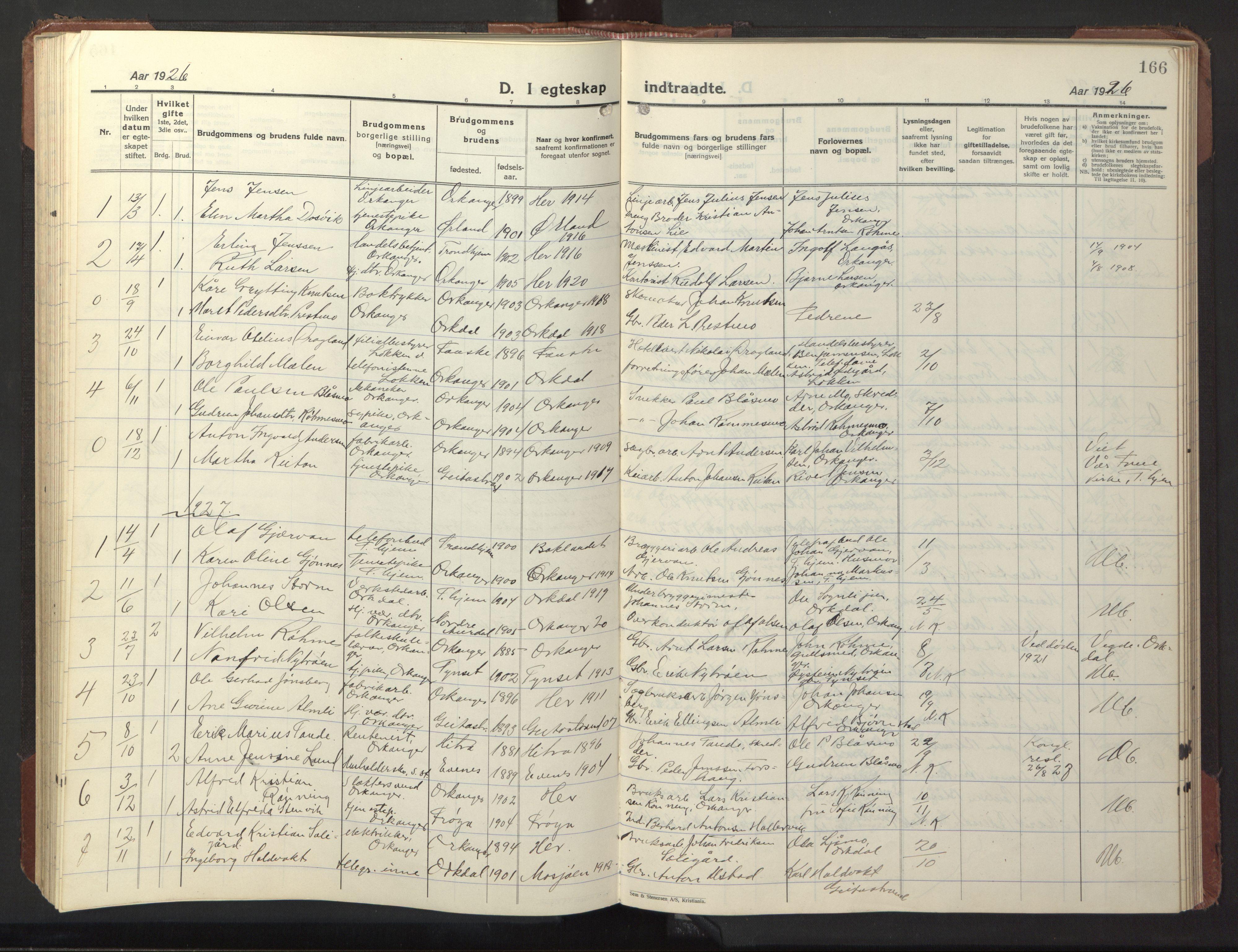 SAT, Ministerialprotokoller, klokkerbøker og fødselsregistre - Sør-Trøndelag, 669/L0832: Klokkerbok nr. 669C02, 1925-1953, s. 166
