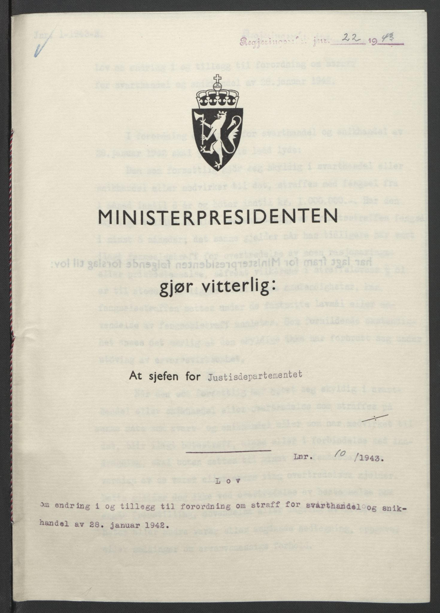 RA, NS-administrasjonen 1940-1945 (Statsrådsekretariatet, de kommisariske statsråder mm), D/Db/L0099: Lover, 1943, s. 40