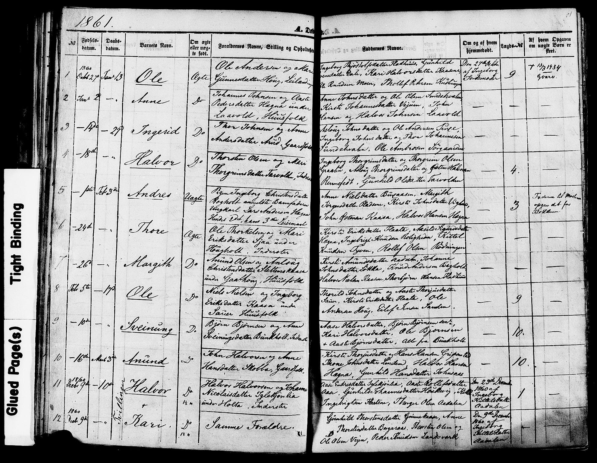 SAKO, Sauherad kirkebøker, F/Fa/L0007: Ministerialbok nr. I 7, 1851-1873, s. 61