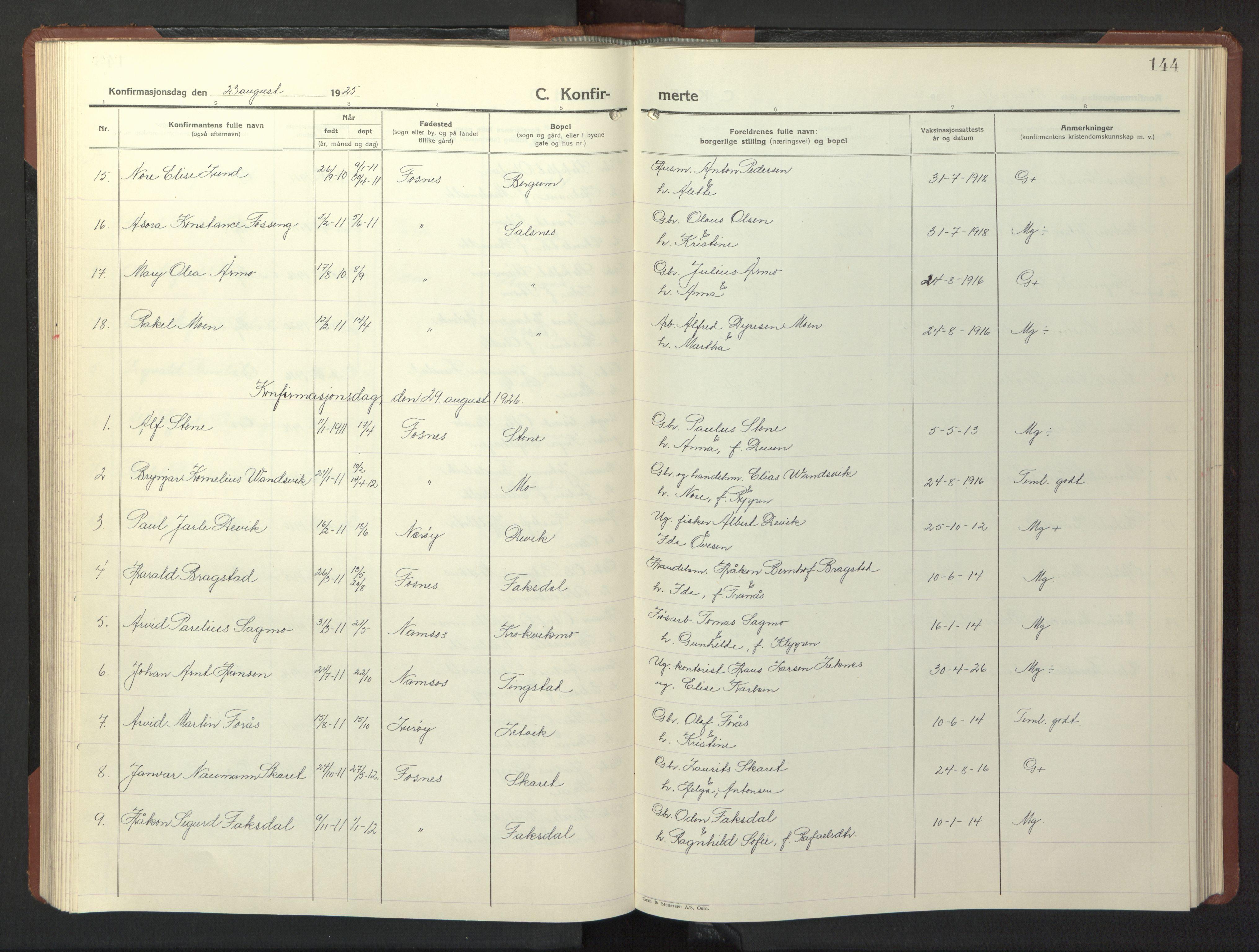SAT, Ministerialprotokoller, klokkerbøker og fødselsregistre - Nord-Trøndelag, 773/L0625: Klokkerbok nr. 773C01, 1910-1952, s. 144