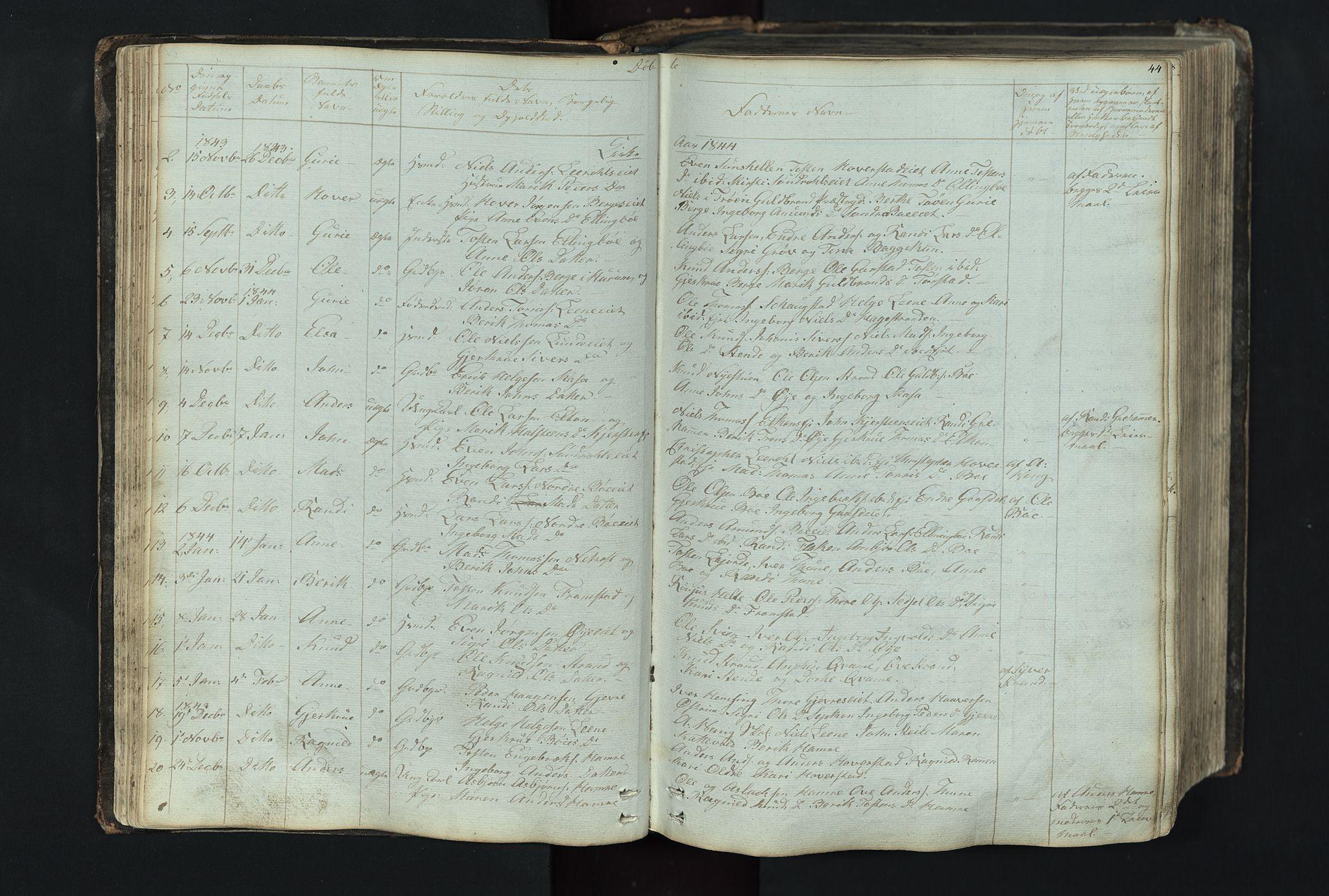 SAH, Vang prestekontor, Valdres, Klokkerbok nr. 4, 1835-1892, s. 44