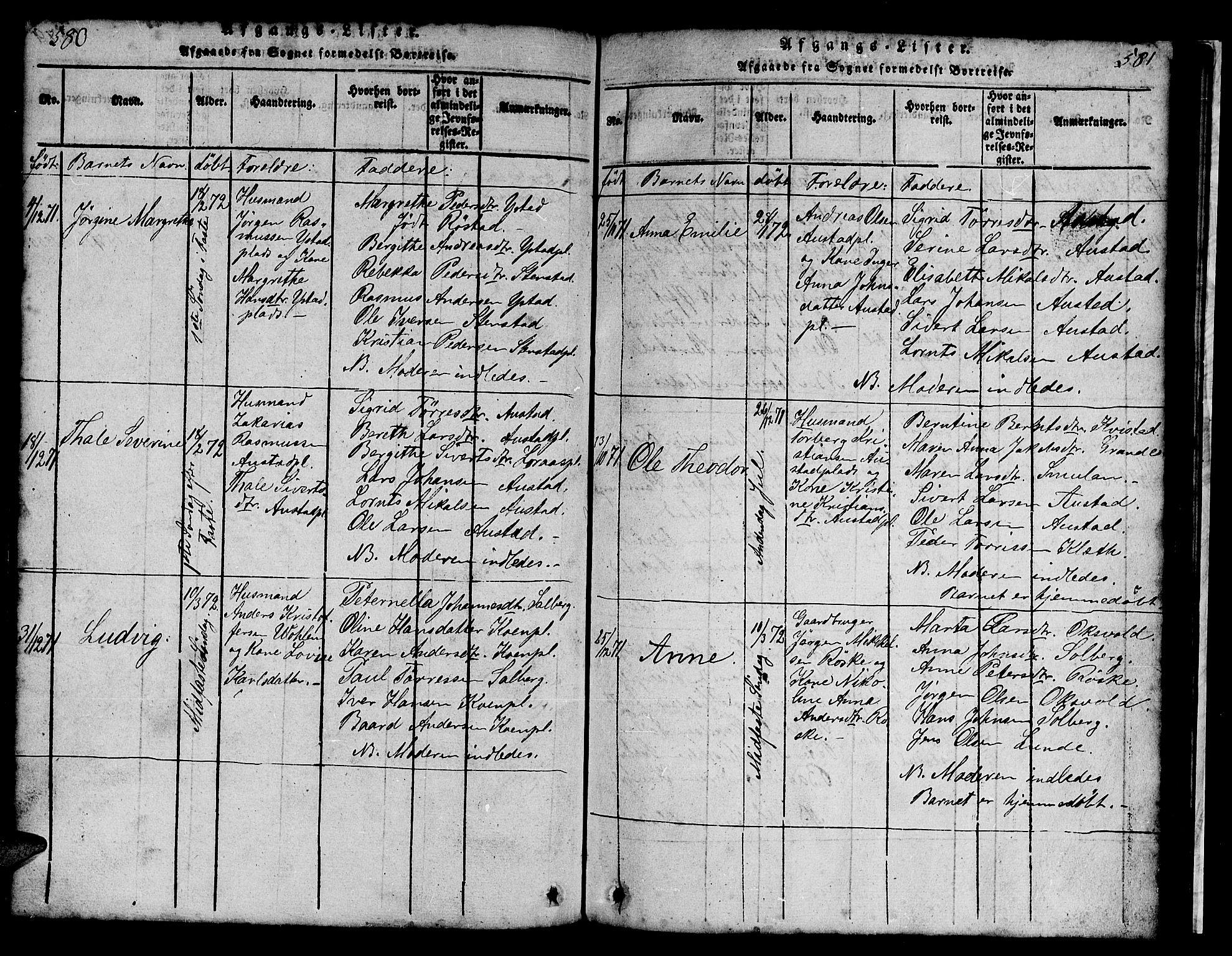 SAT, Ministerialprotokoller, klokkerbøker og fødselsregistre - Nord-Trøndelag, 731/L0310: Klokkerbok nr. 731C01, 1816-1874, s. 580-581