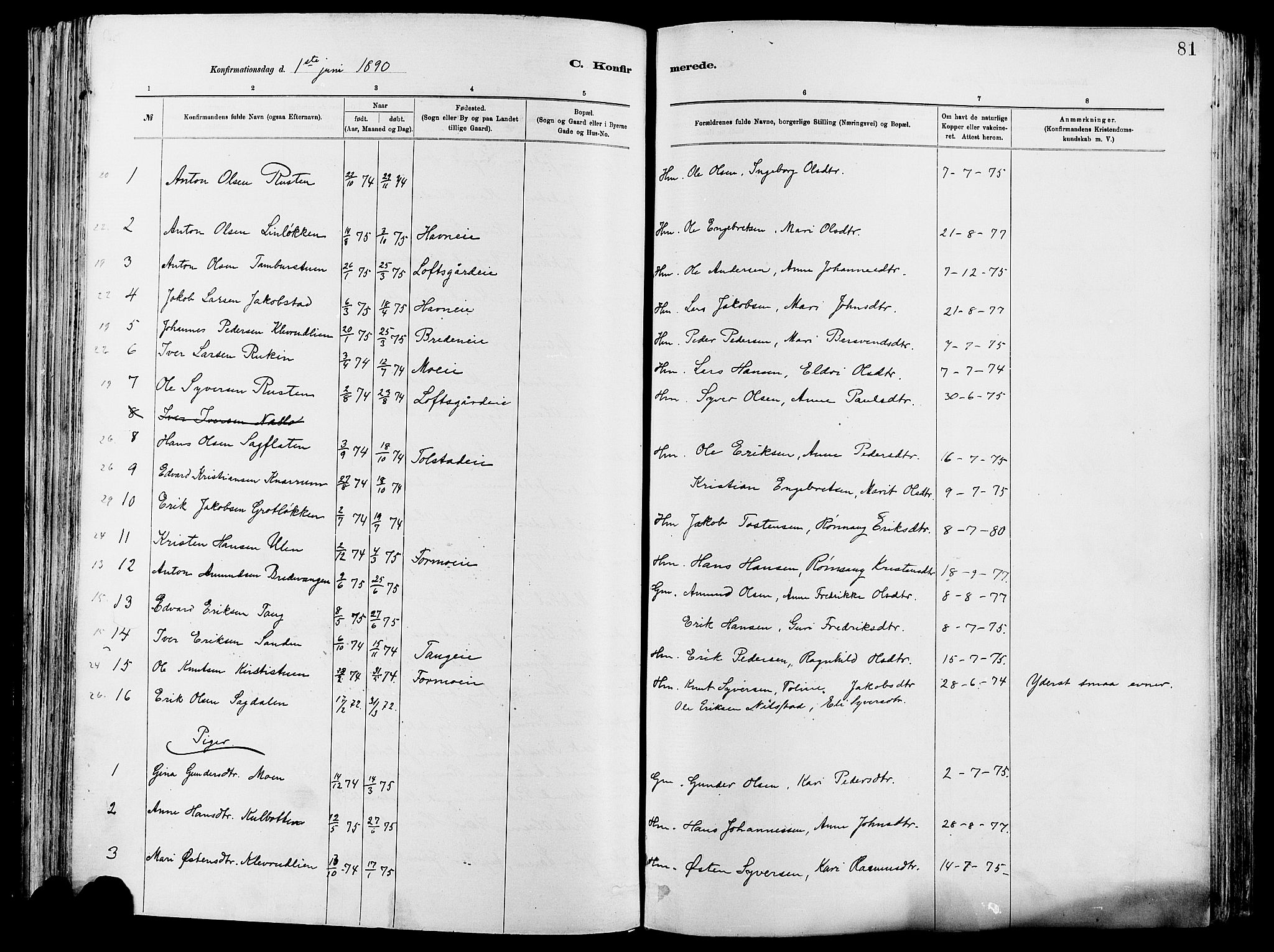 SAH, Vågå prestekontor, Ministerialbok nr. 8, 1886-1904, s. 81