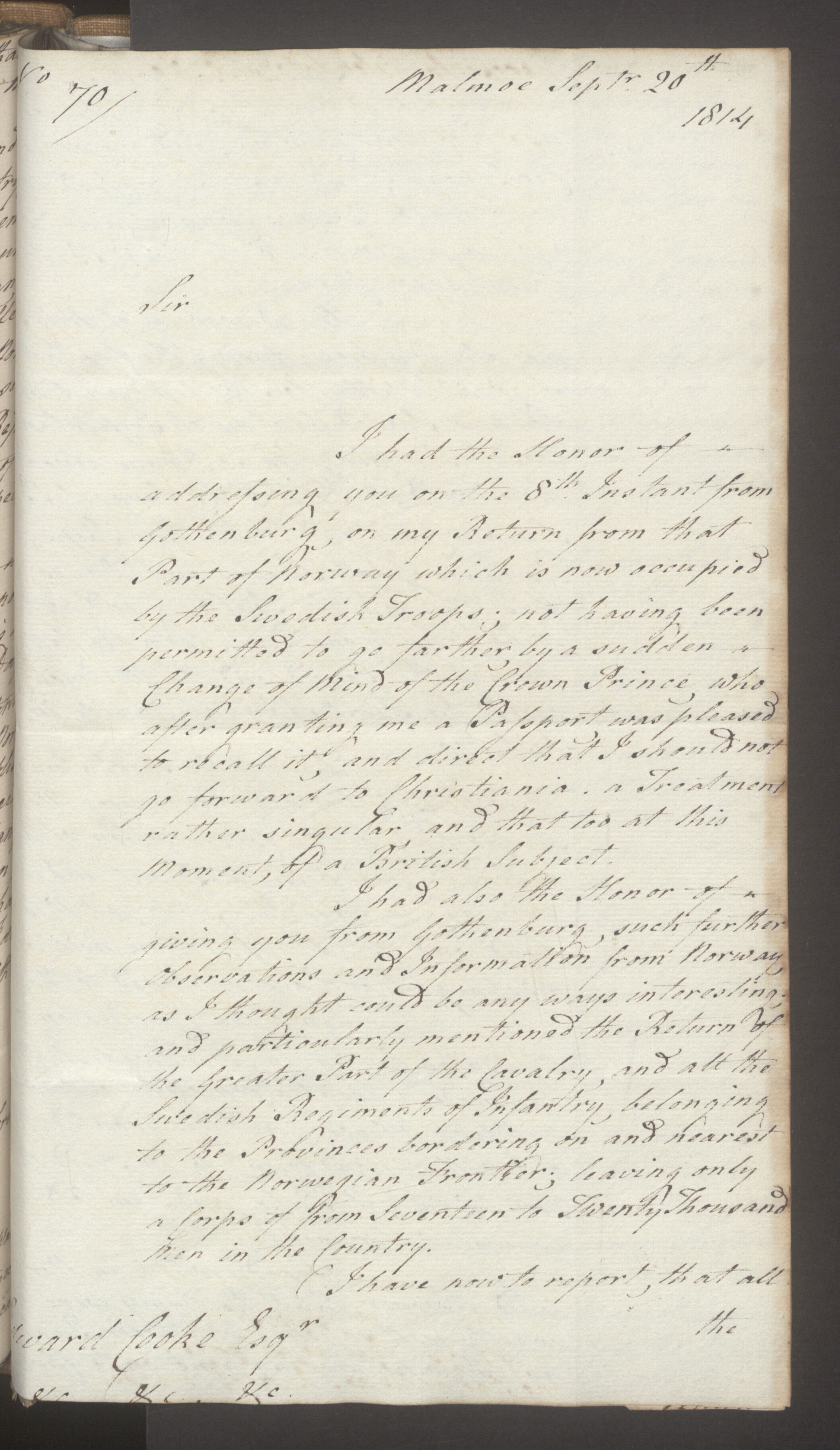UKA, Foreign Office*, FO 38/16: Sir C. Gordon. Reports from Malmö, Jonkoping, and Helsingborg, 1814, s. 111