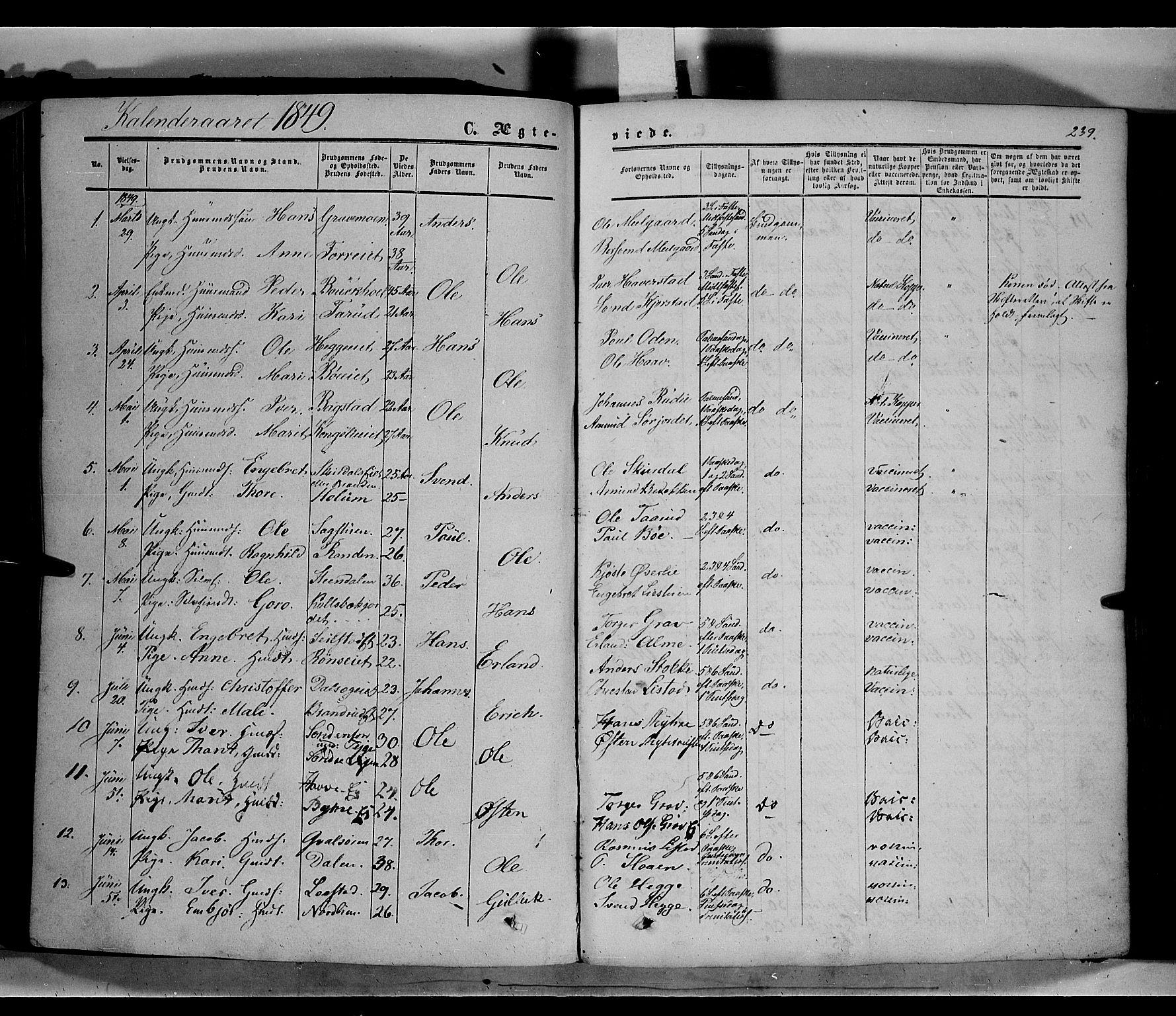 SAH, Sør-Fron prestekontor, H/Ha/Haa/L0001: Ministerialbok nr. 1, 1849-1863, s. 239