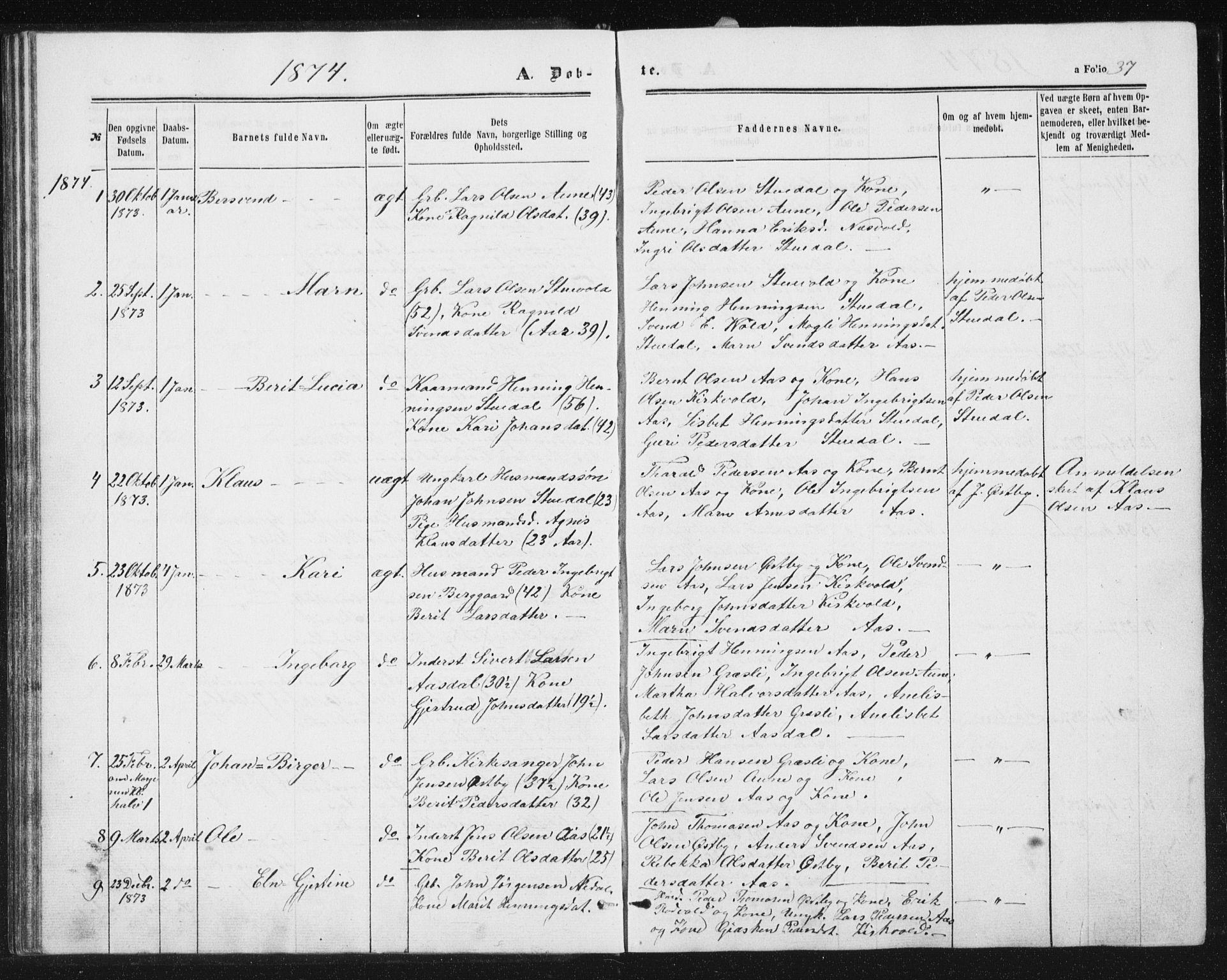 SAT, Ministerialprotokoller, klokkerbøker og fødselsregistre - Sør-Trøndelag, 698/L1166: Klokkerbok nr. 698C03, 1861-1887, s. 37