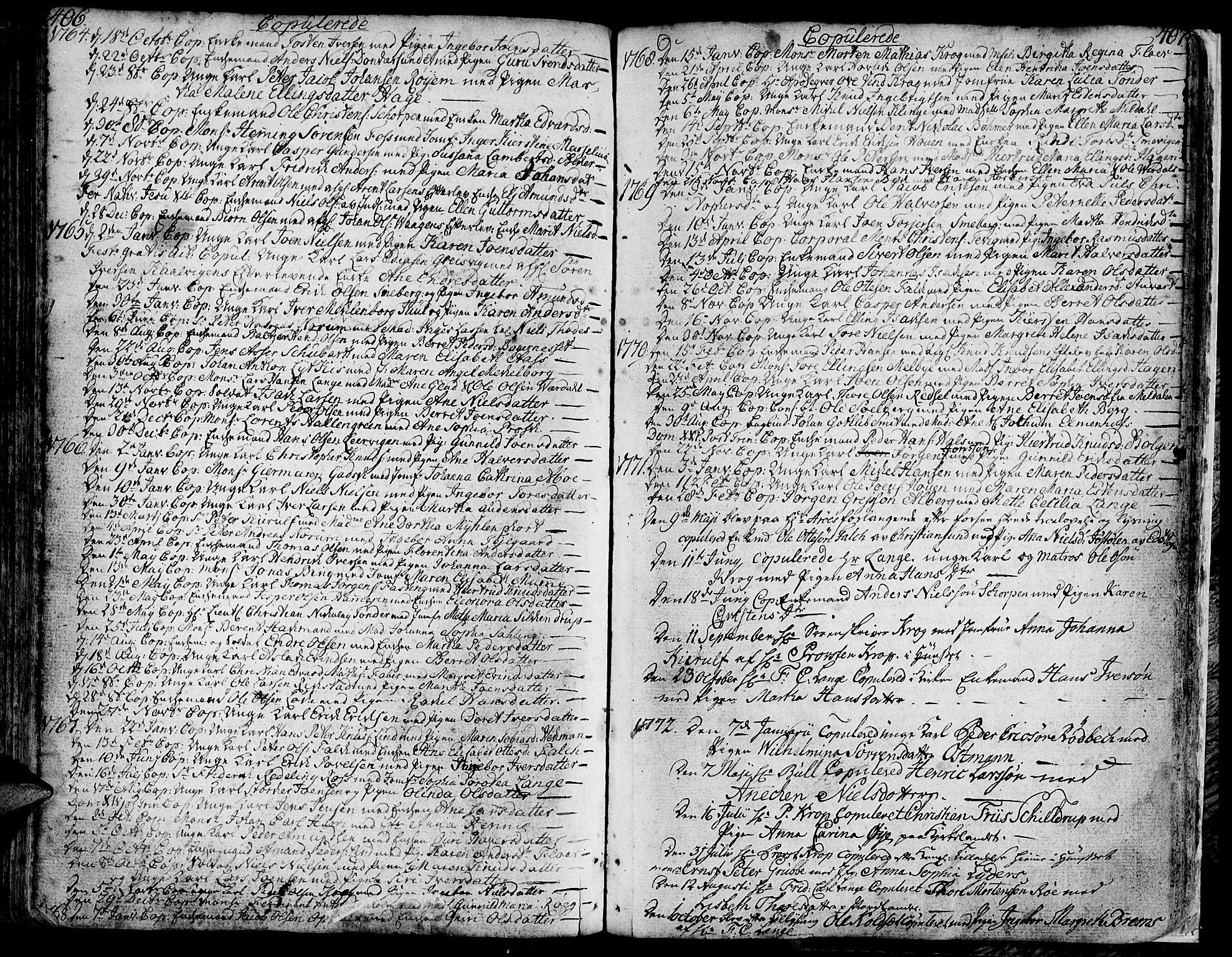 SAT, Ministerialprotokoller, klokkerbøker og fødselsregistre - Møre og Romsdal, 572/L0840: Ministerialbok nr. 572A03, 1754-1784, s. 406-407