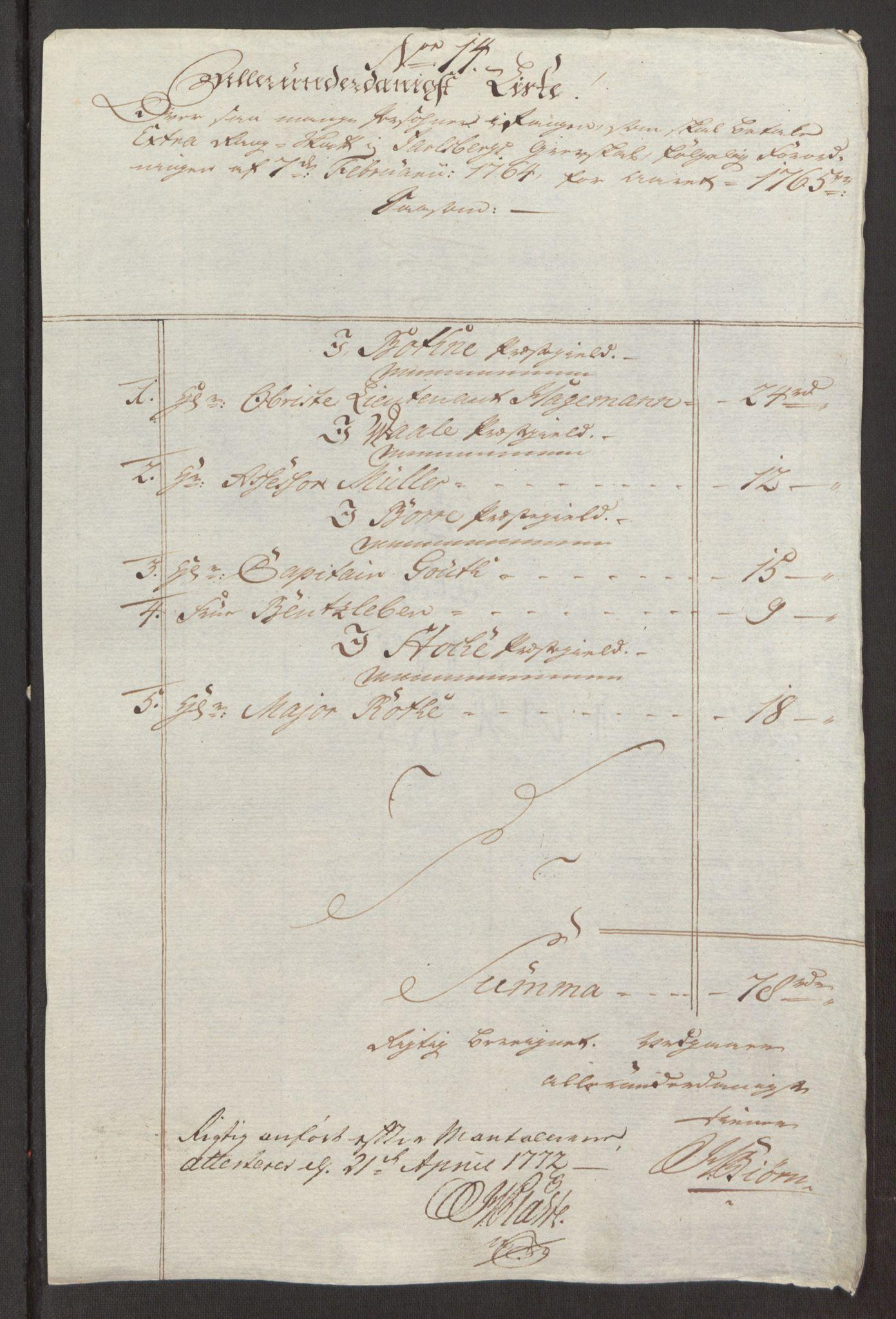 RA, Rentekammeret inntil 1814, Reviderte regnskaper, Fogderegnskap, R32/L1960: Ekstraskatten Jarlsberg grevskap, 1762-1772, s. 84